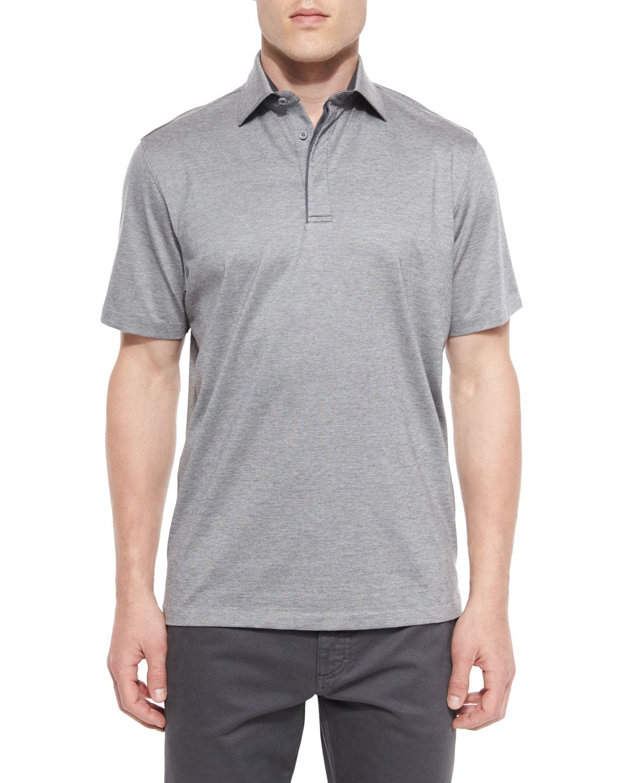 ermenegildo zegna 1x1 knit polo shirt in gray for men lyst. Black Bedroom Furniture Sets. Home Design Ideas