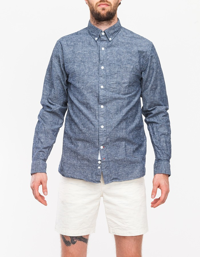 Apolis Chambray Button Down Shirt In Blue For Men Navy