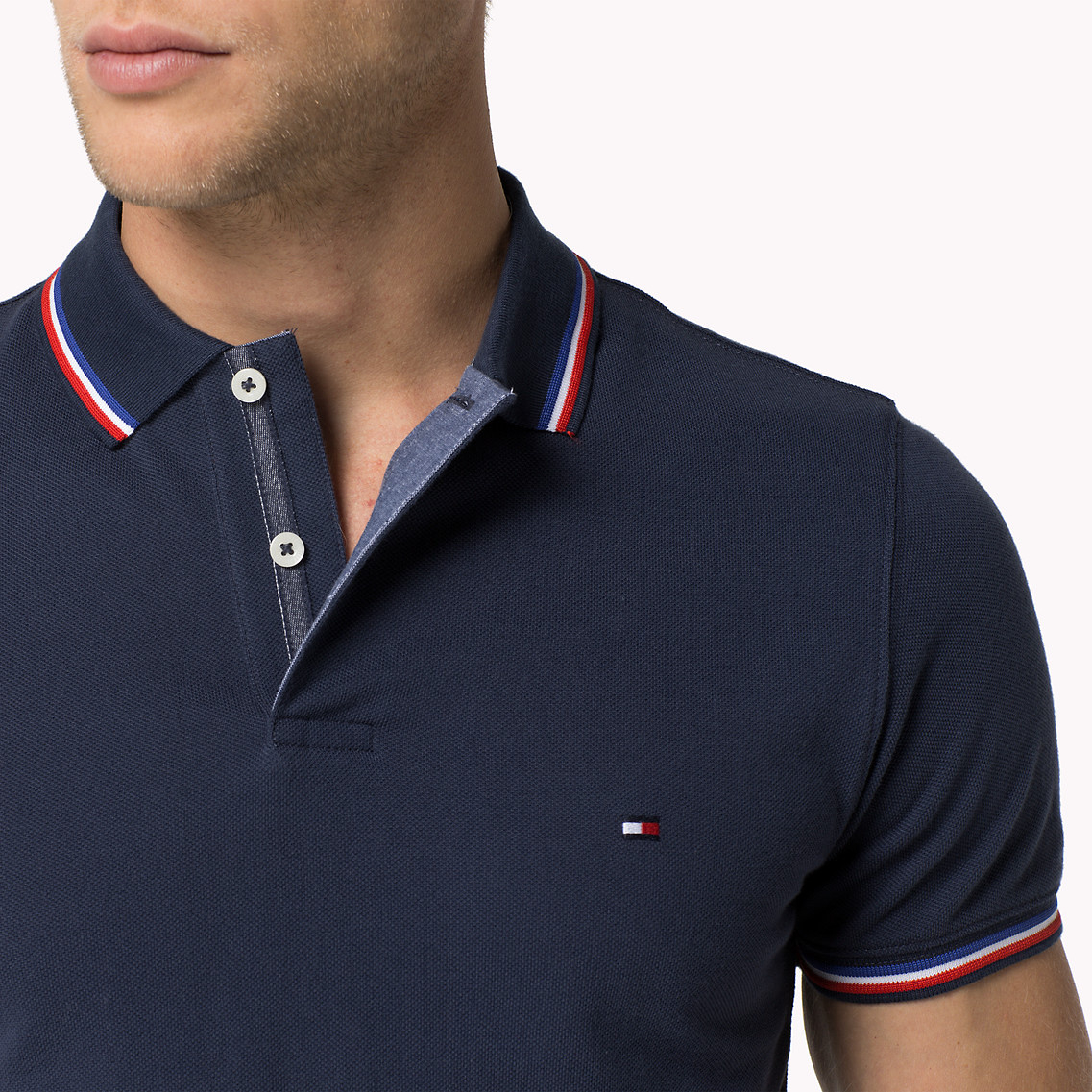 5f3f5e41ca3d0 Tommy Hilfiger Cotton Slim Fit Polo in Blue for Men - Lyst