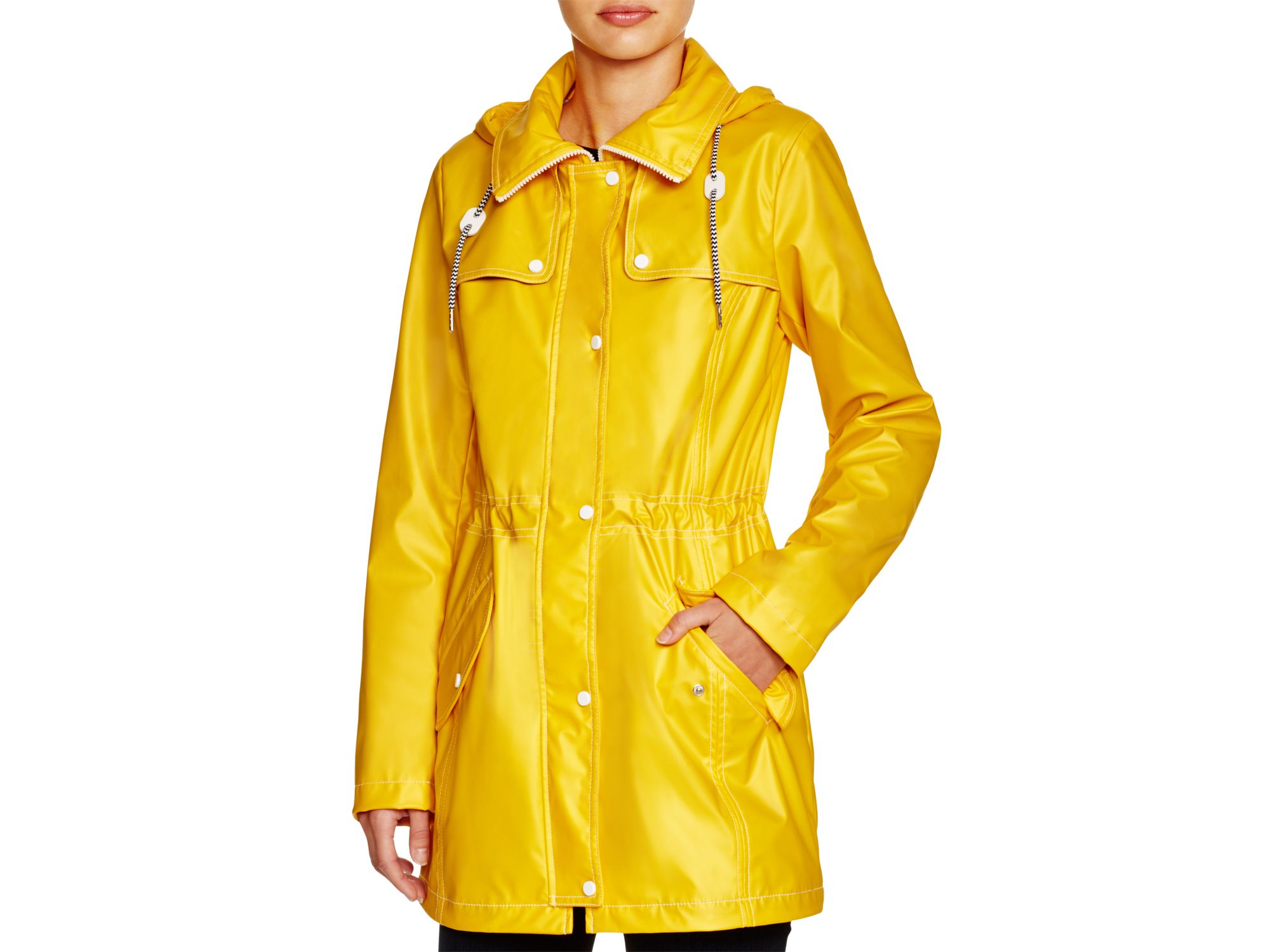 2645571f4f241 Jessica Simpson Hooded Rain Slicker - Compare At $160 in Yellow - Lyst