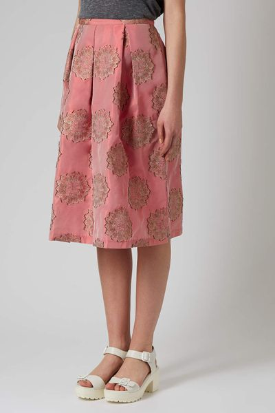 topshop antique jacquard midi skirt in pink lyst