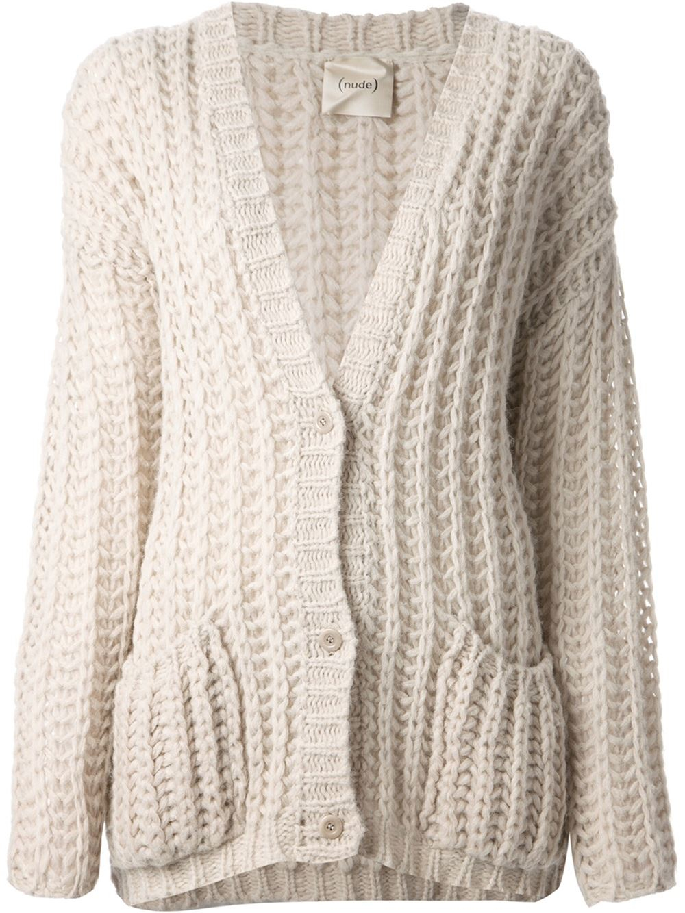 Knitting Pattern Chunky Cardigan Free : Nude Chunky Knit Cardigan in Natural Lyst