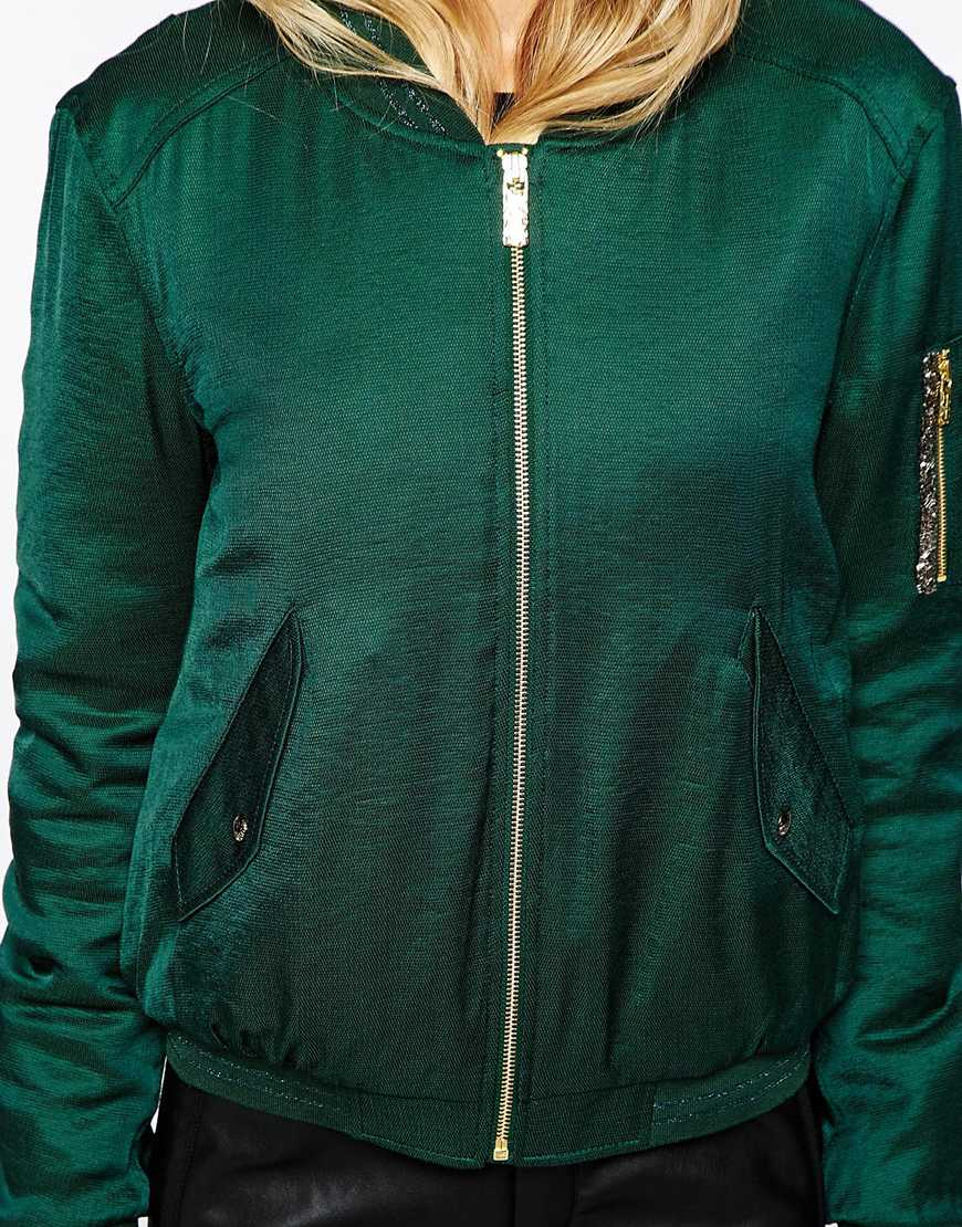 Boss orange Bomber Jacket With Orange Lining in Green | Lyst