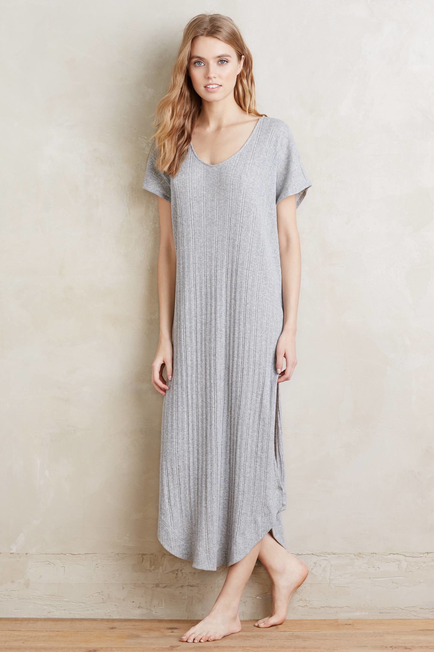 Lyst - Skin Ribbed Sleep Gown in Gray