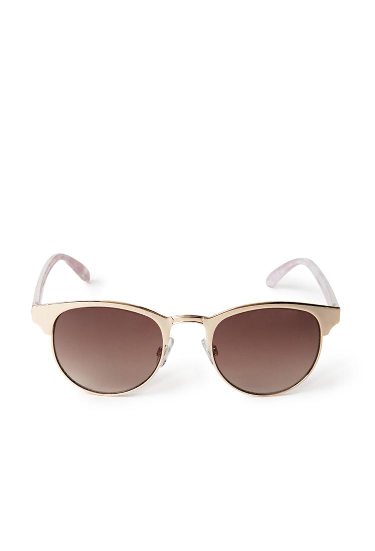 Forever 21 Futuristic Cat-Eye Sunglasses in Gold (GOLD ...