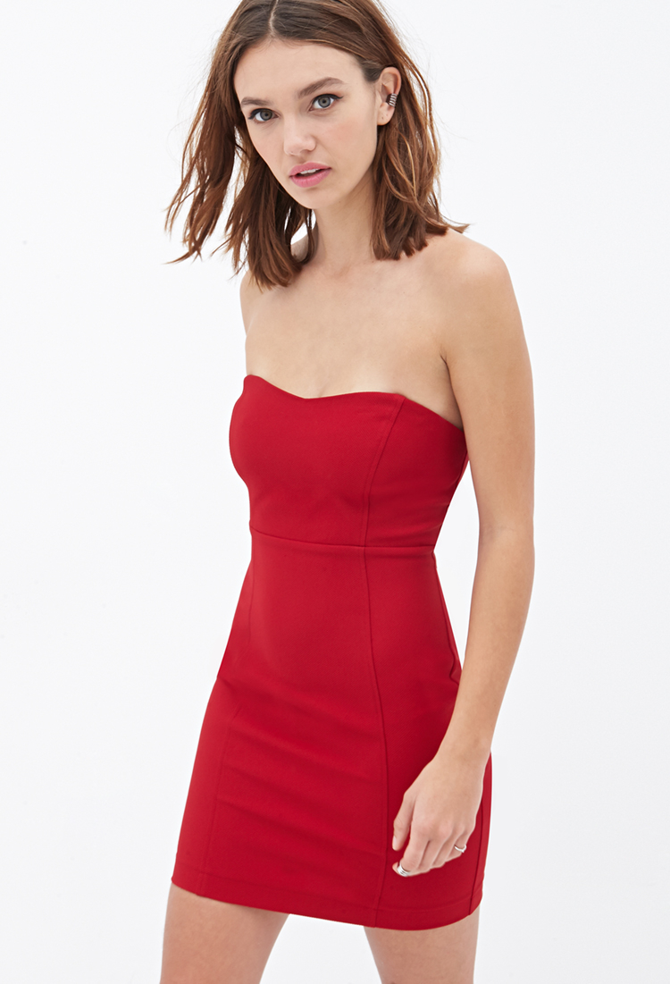 f45096ea067 Forever 21 Strapless Bodycon Dress in Red - Lyst
