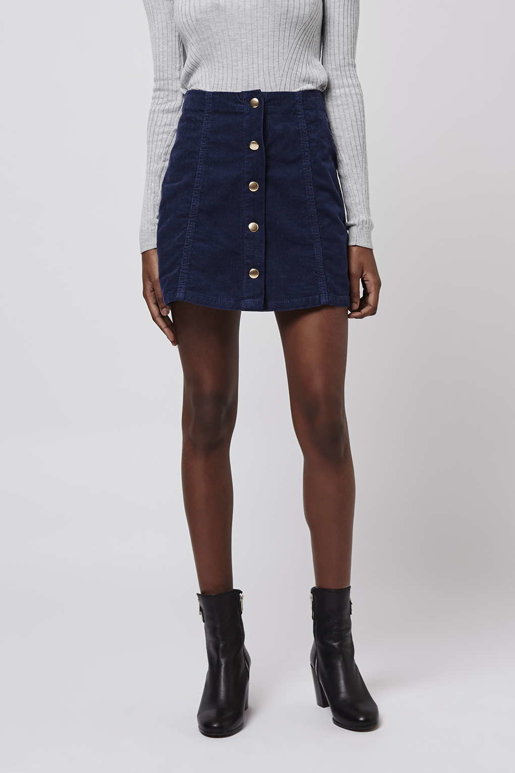 Topshop Cord Popper A-line Skirt in Blue | Lyst
