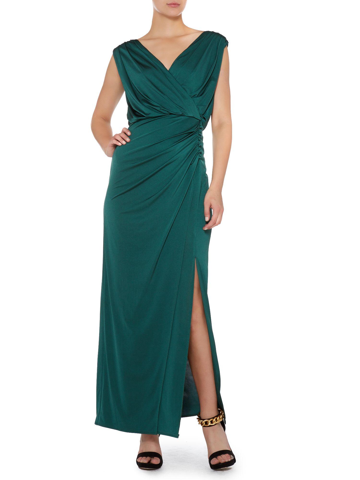 Biba Synthetic Wrap Over Maxi Dress In Bottle Green Green