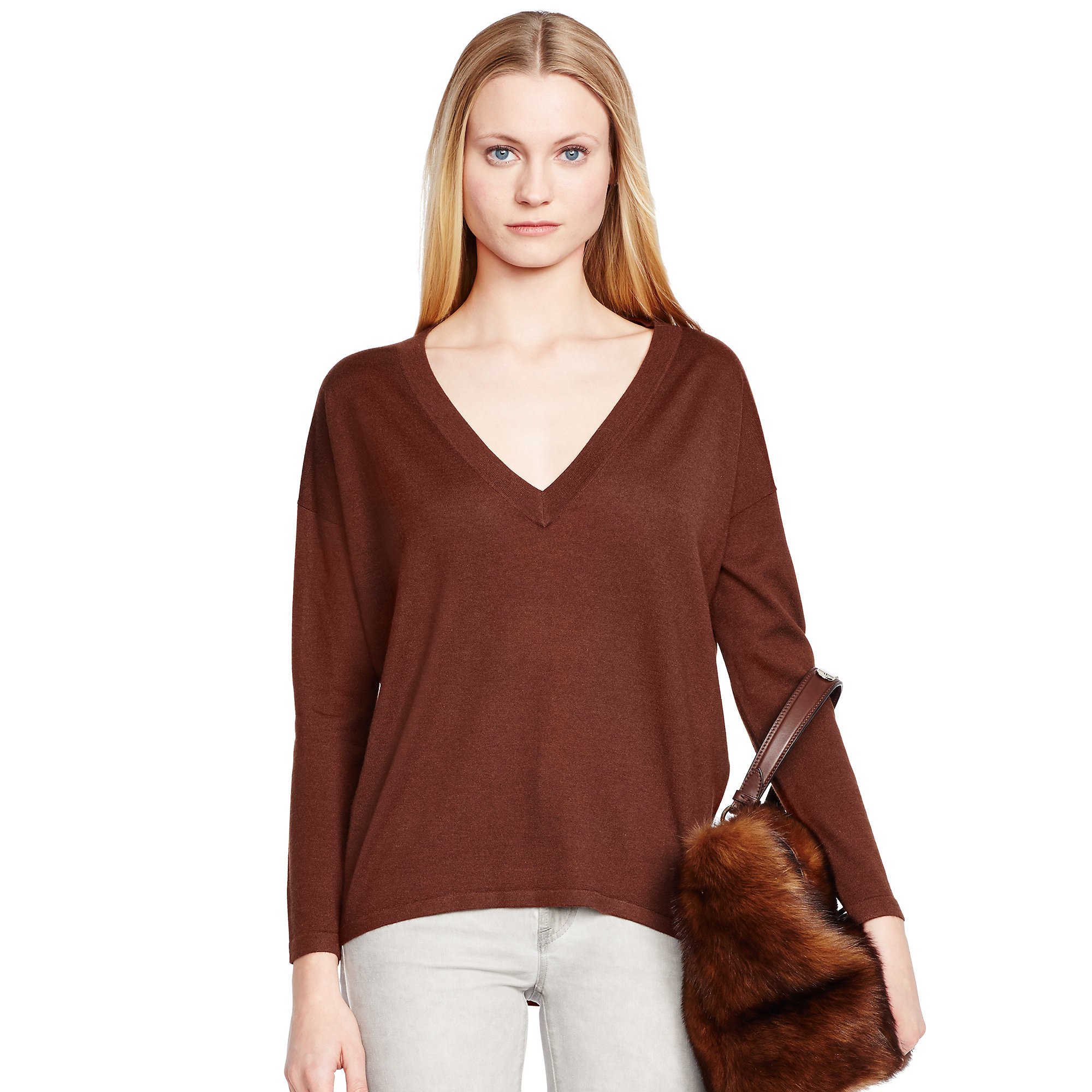 Ralph lauren black label Cashmere-silk V-neck Sweater in Brown | Lyst