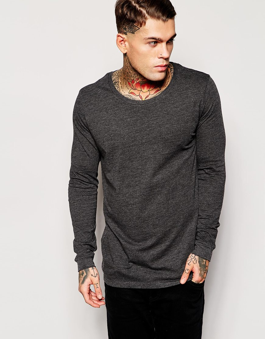 Asos longline long sleeve t shirt with scoop neck in gray for Scoop neck long sleeve shirt