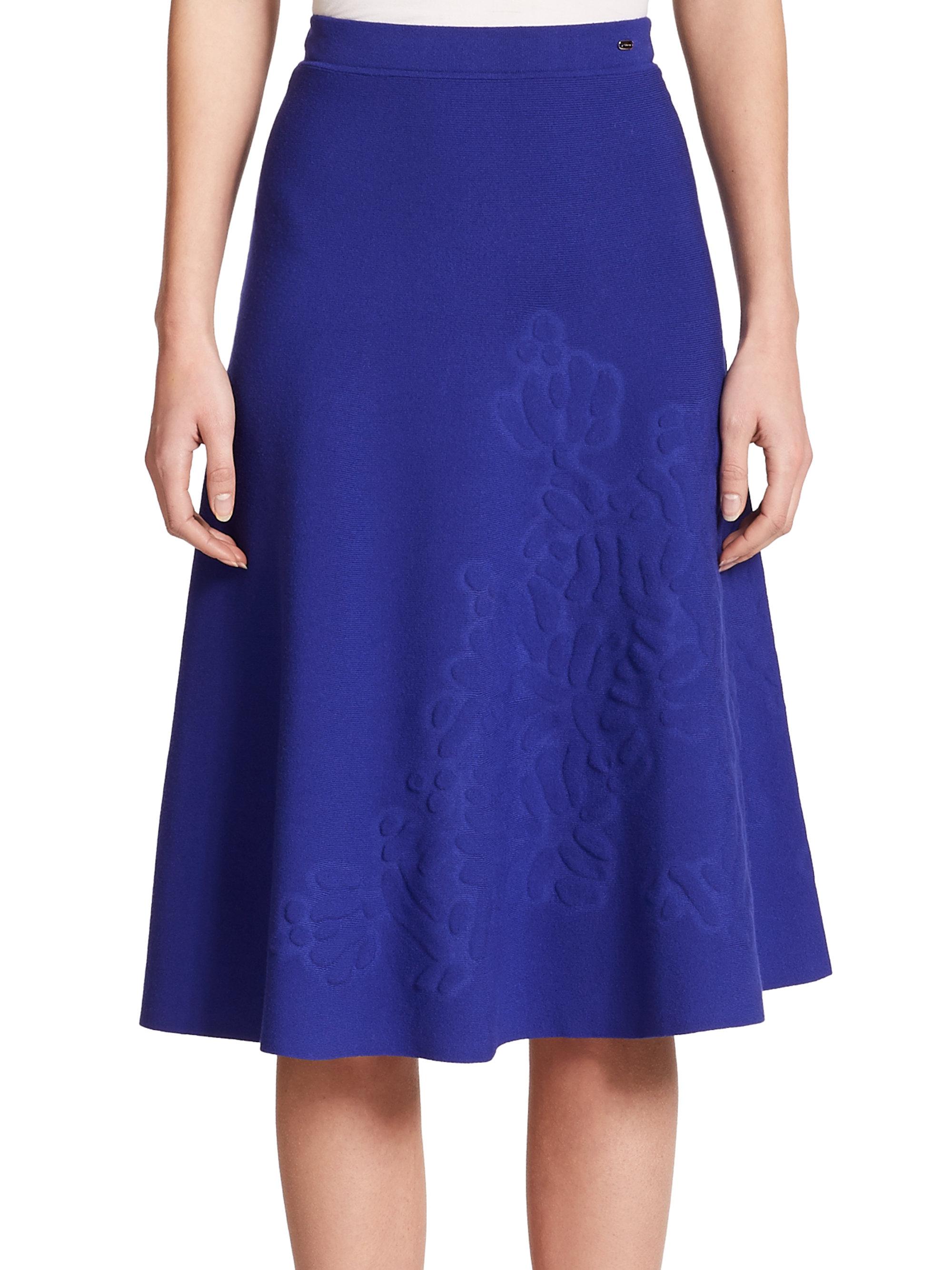 escada embossed flower knit skirt in blue lyst