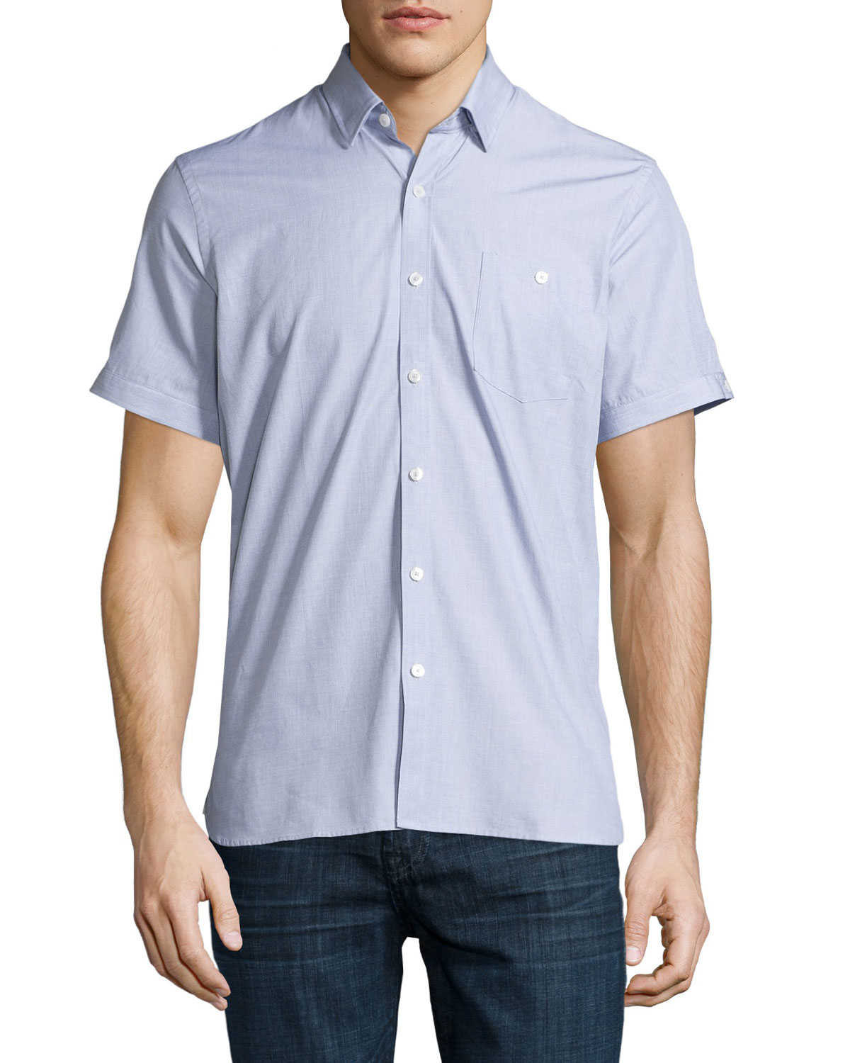 neiman end on end sleeve shirt in blue for