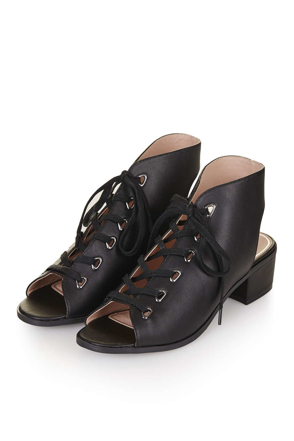 topshop lace up shoe boot in black lyst