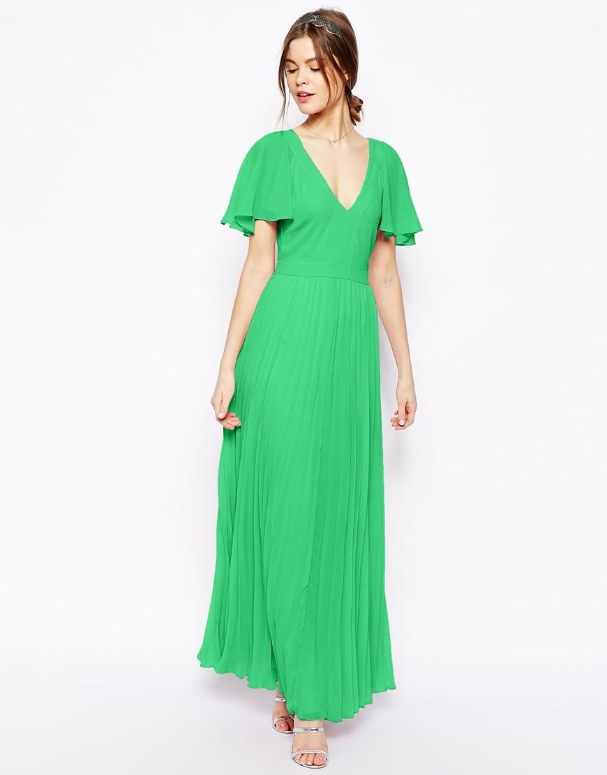 7ec990b13a3 ASOS Ruffle Sleeve Pleated Maxi Dress in Green - Lyst