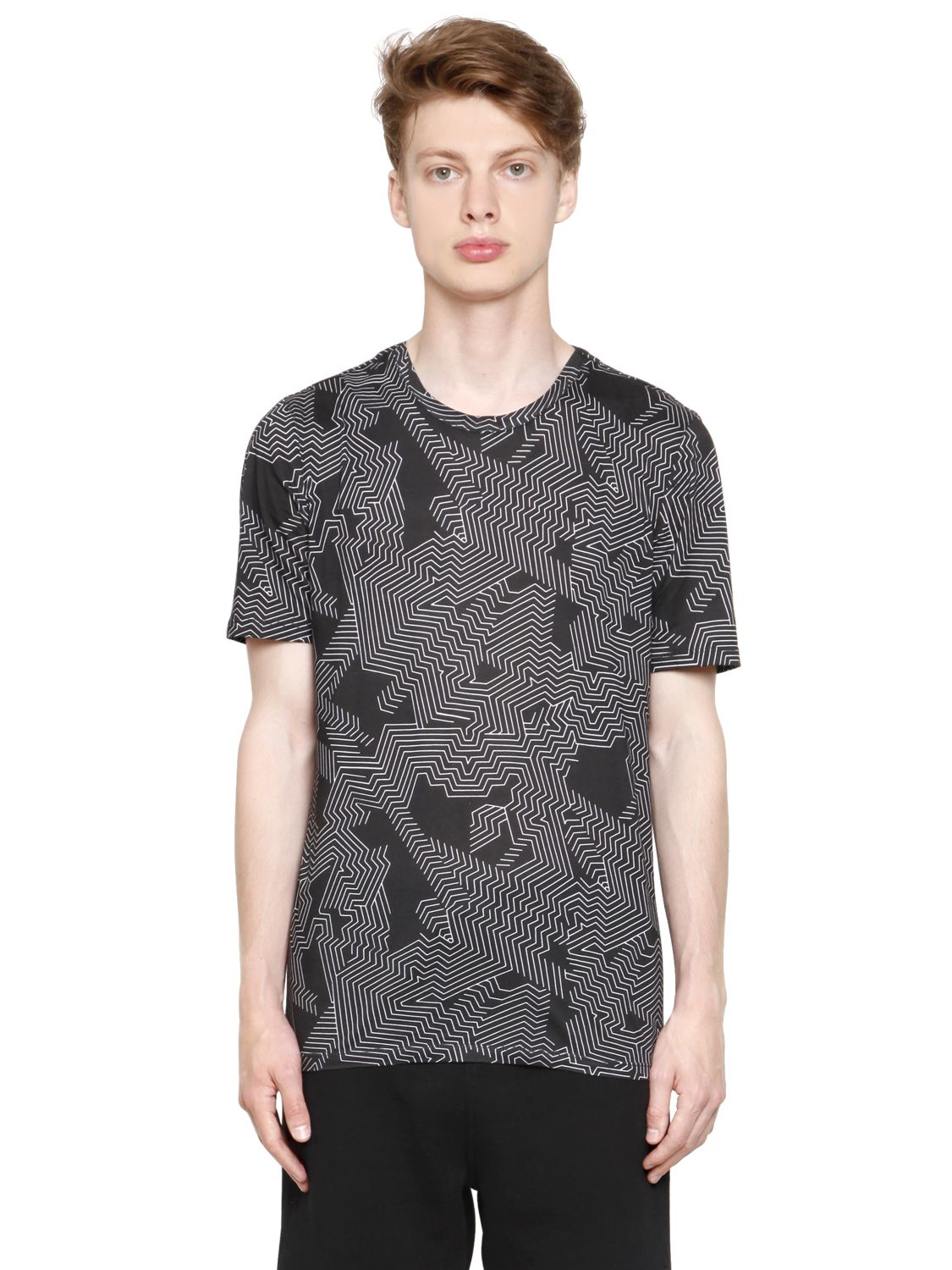 helmut lang labyrinth print short sleeve t shirt in black