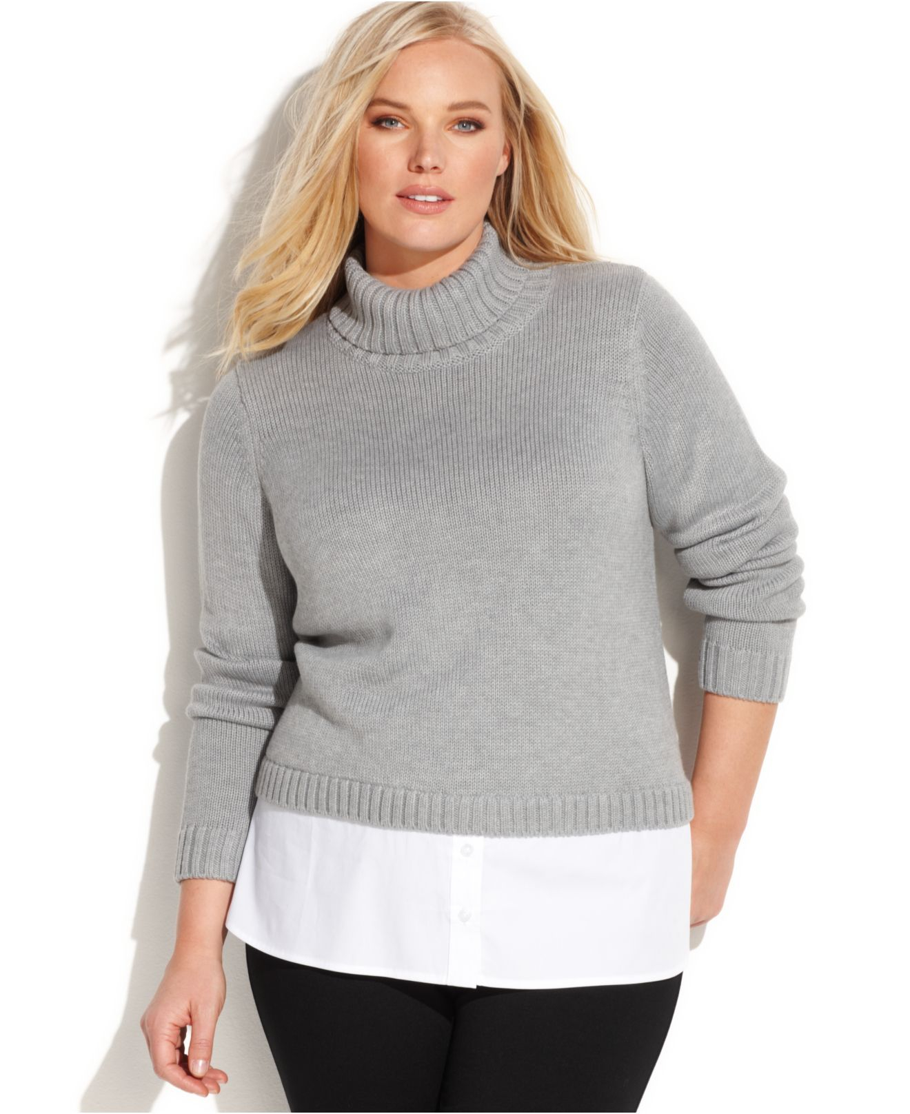 1689717ae65 Lyst - Calvin Klein Plus Size Layer-Look Turtleneck Sweater in Gray