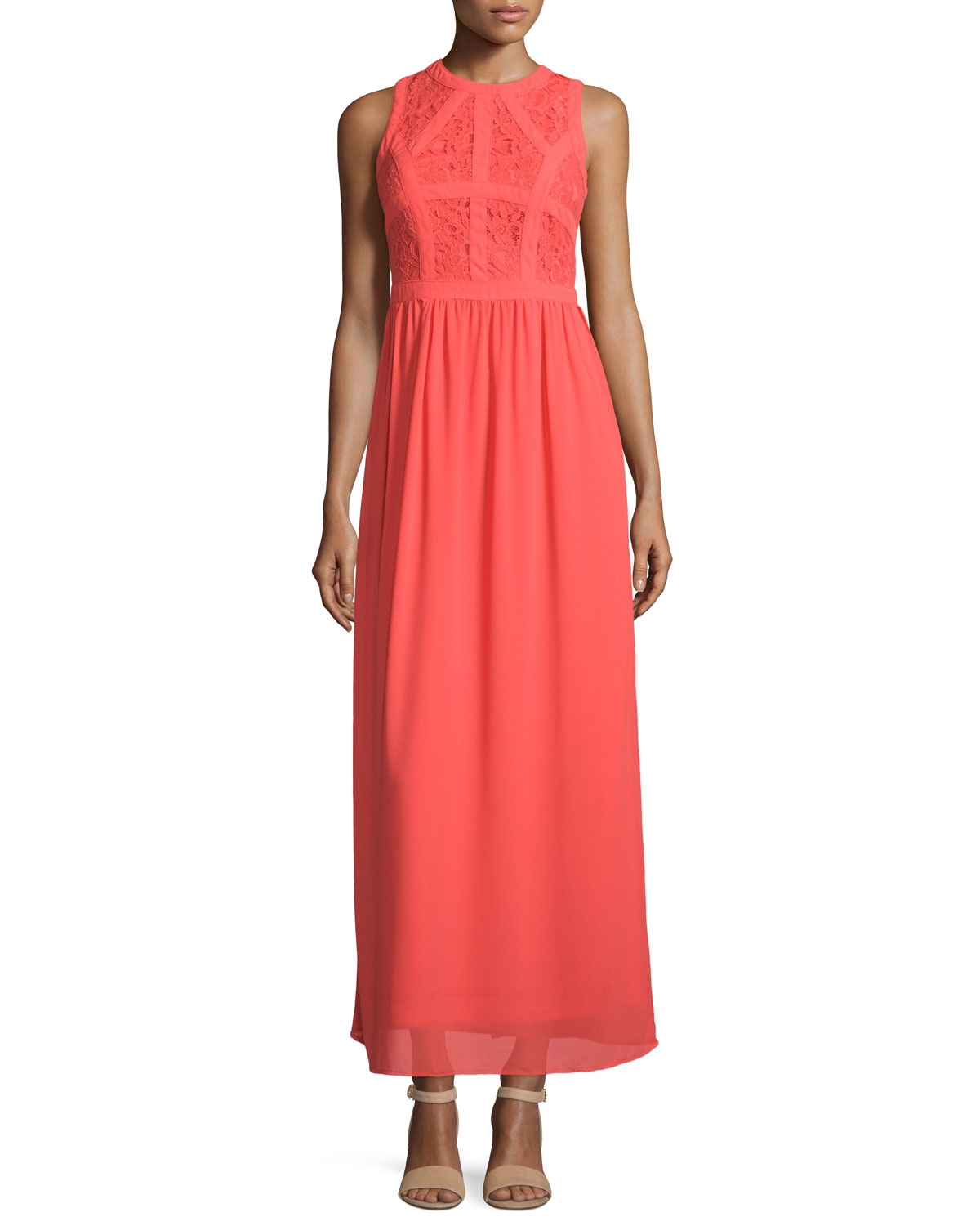 Neiman marcus Sleeveless Lace & Chiffon Maxi Dress in Red ...