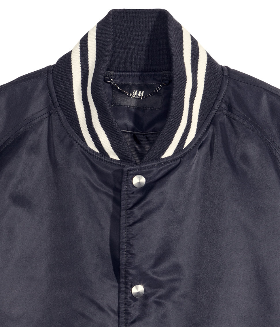 H&m Baseball Jacket in Blue for Men | Lyst