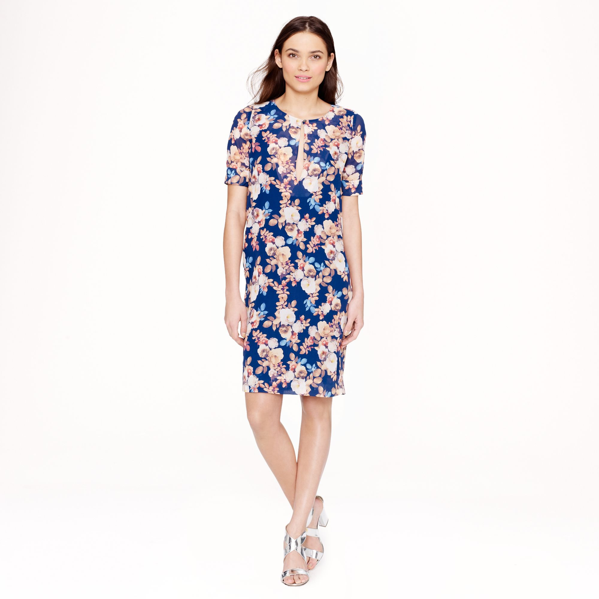 J.crew Petite Silk Dress in Antique Floral in Blue ...