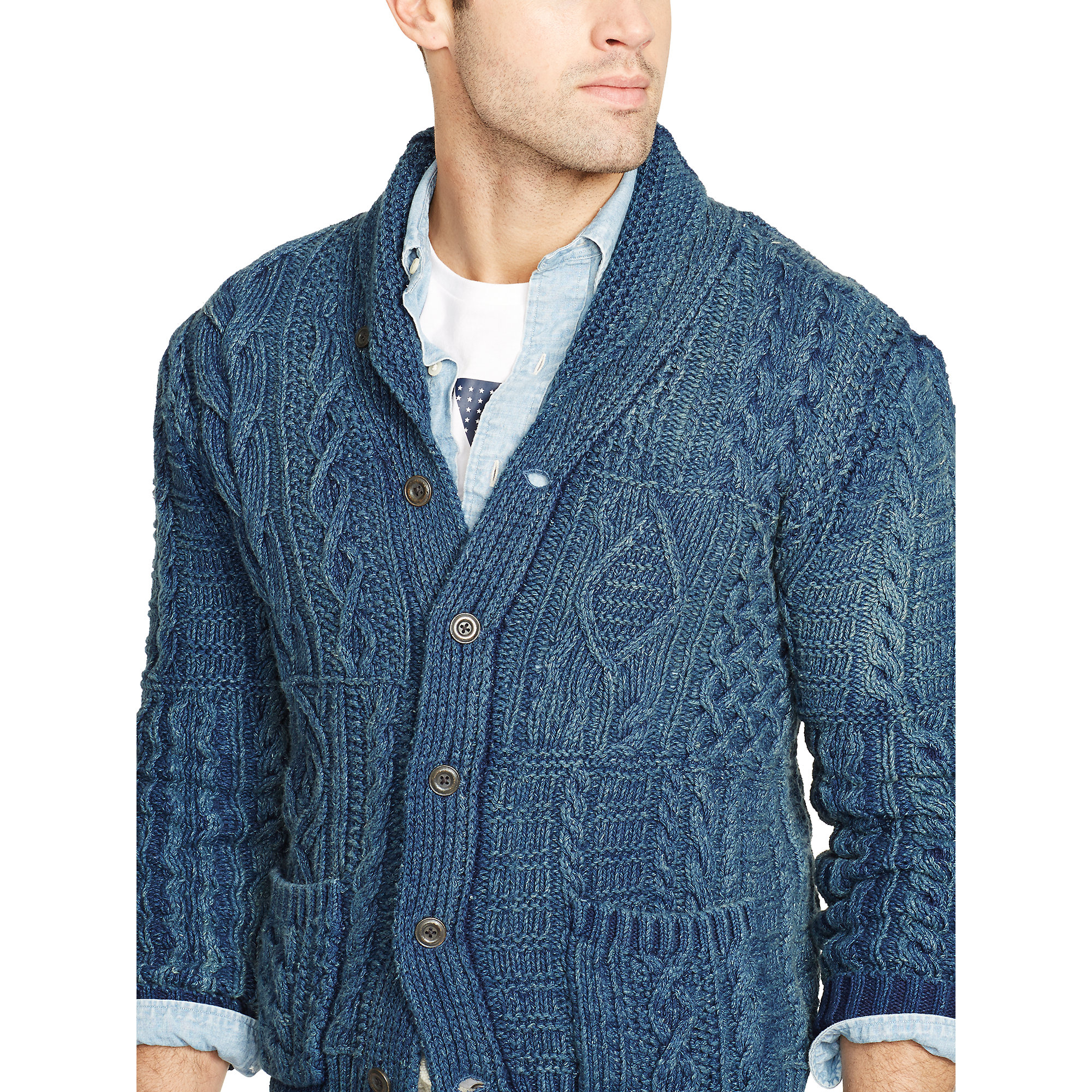 Lyst Polo Ralph Lauren Indigo Cotton Shawl Cardigan In