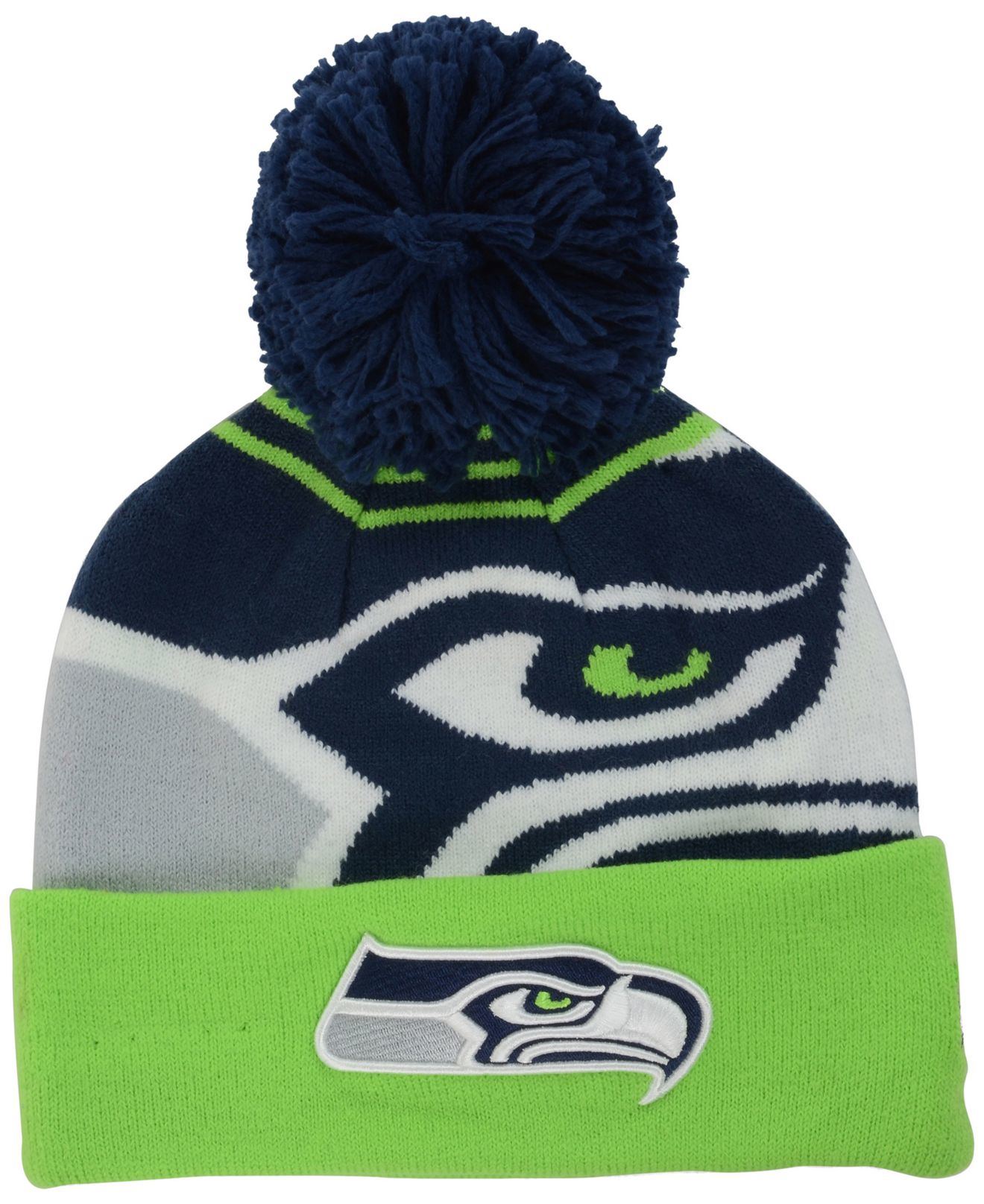 0c7357f716f italy new era seattle seahawks pom blizz cuffed knit hat neon green 58675  8d84f  czech lyst ktz seattle seahawks whiz pom knit hat in green for men  b9d7e ...