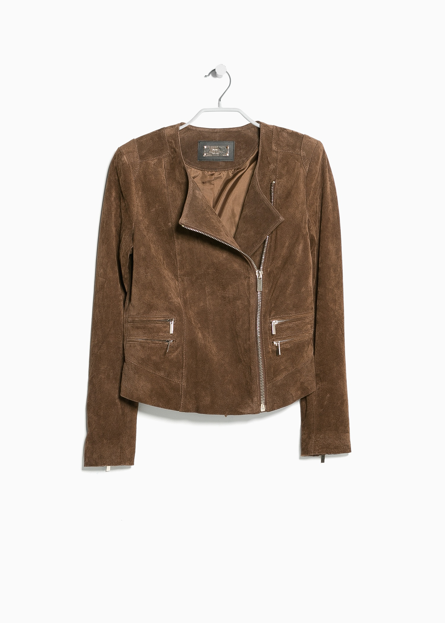 Mango Peccary Leather Jacket in Brown