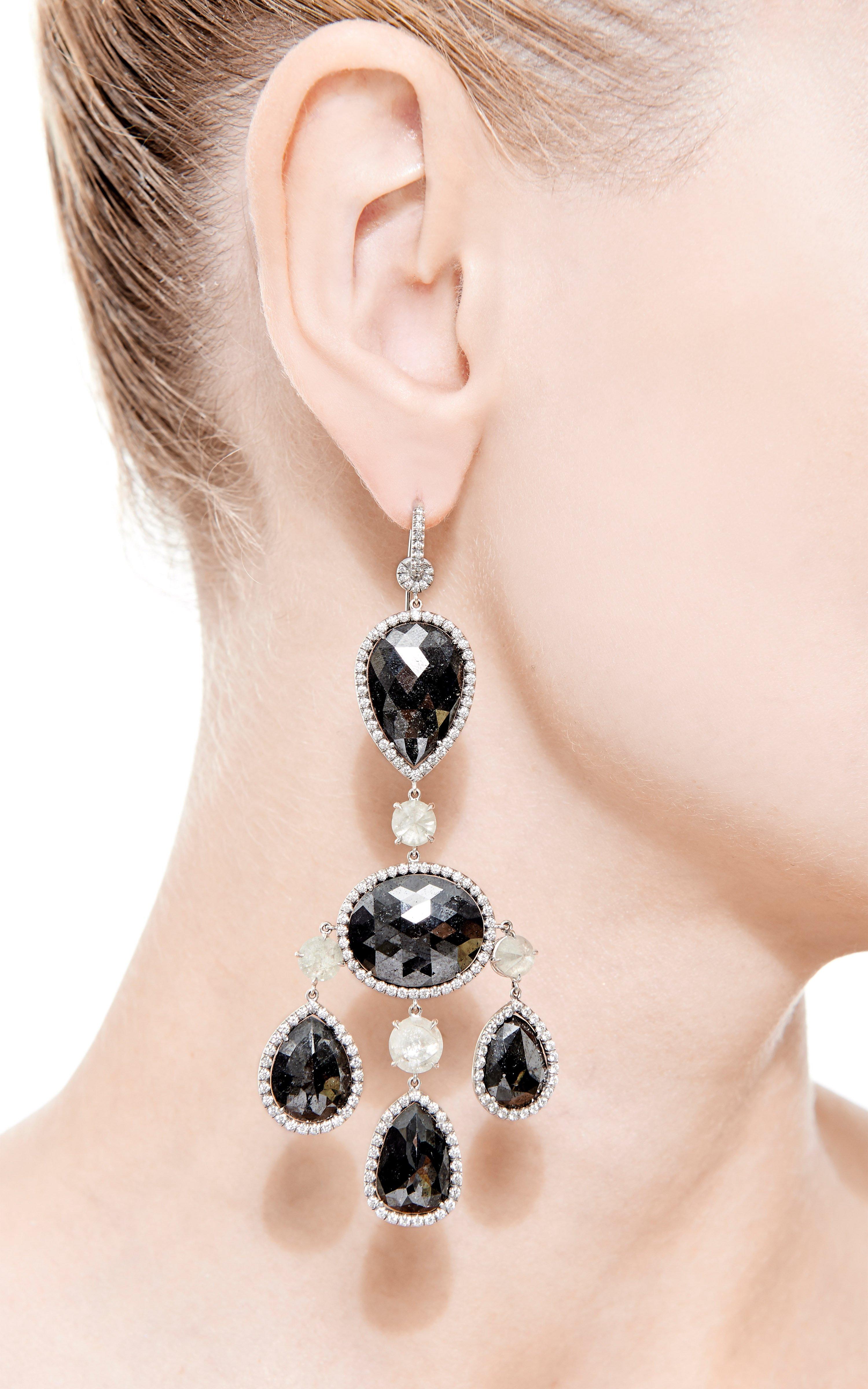 Nina runsdorf 18K White Gold And Black Diamond Chandelier Earrings ...