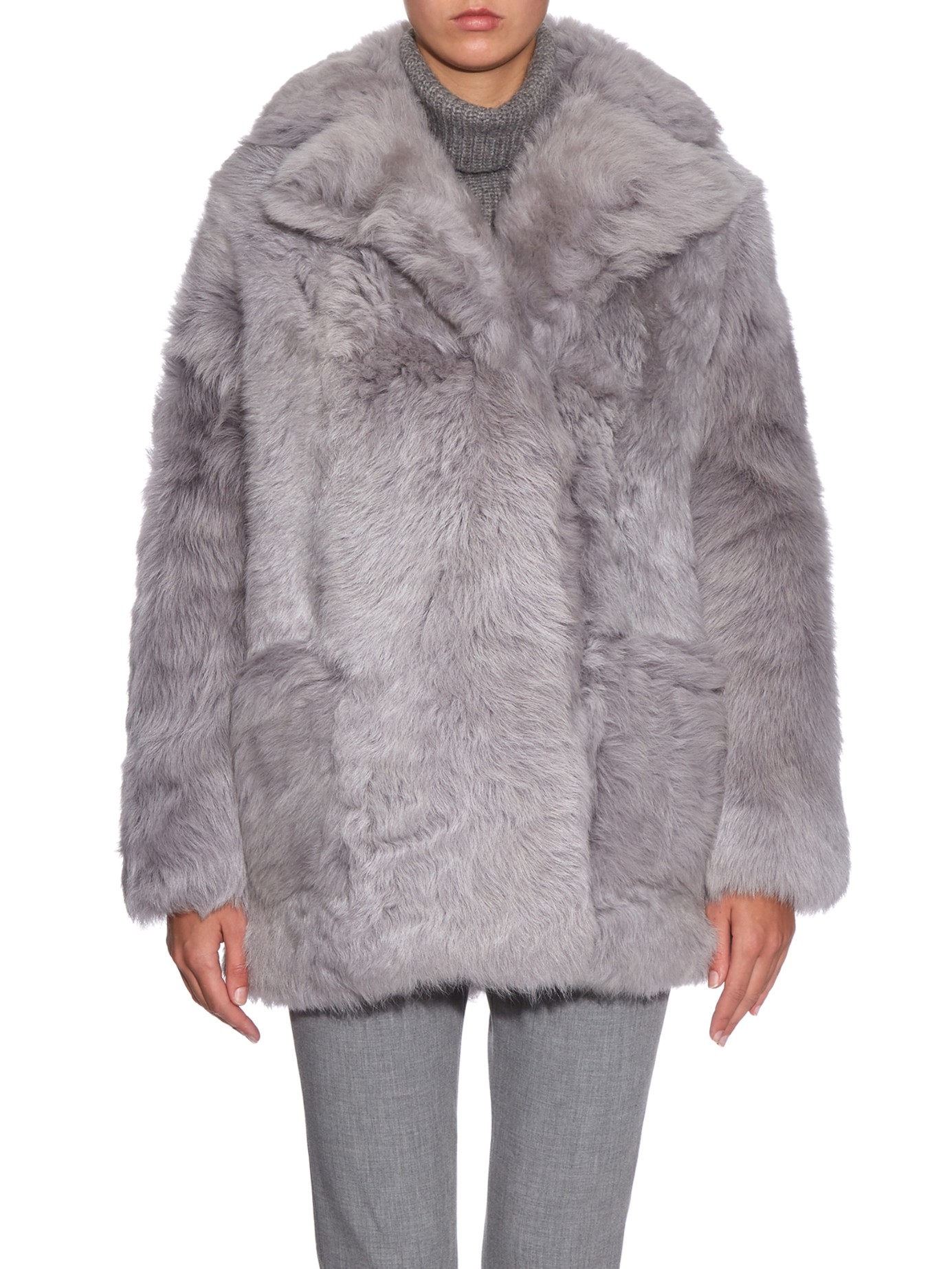 Tibi Toscana Shearling Coat in Gray | Lyst