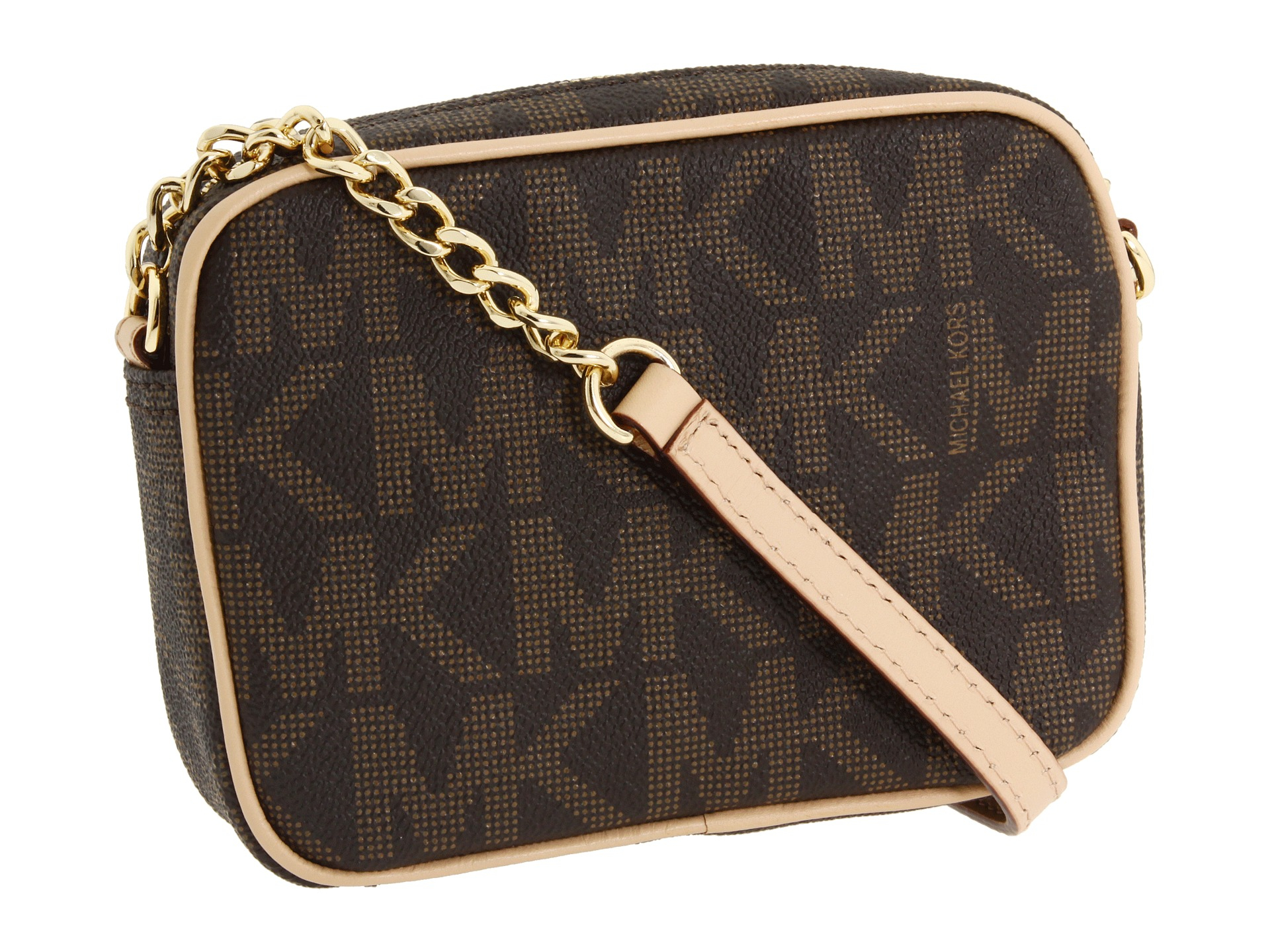 ab772c39c3ad ... best price lyst michael michael kors mk logo crossbody in brown 64156  d79da
