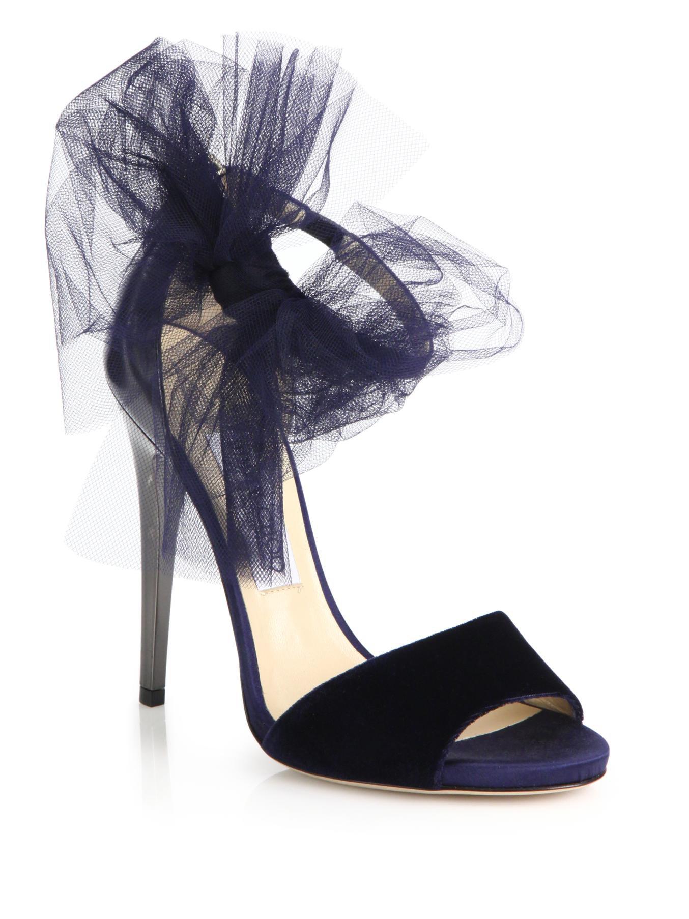 3be08c514eab Lyst - Jimmy Choo  Lilyth 100  Tulle Bow Velvet Sandals in Blue