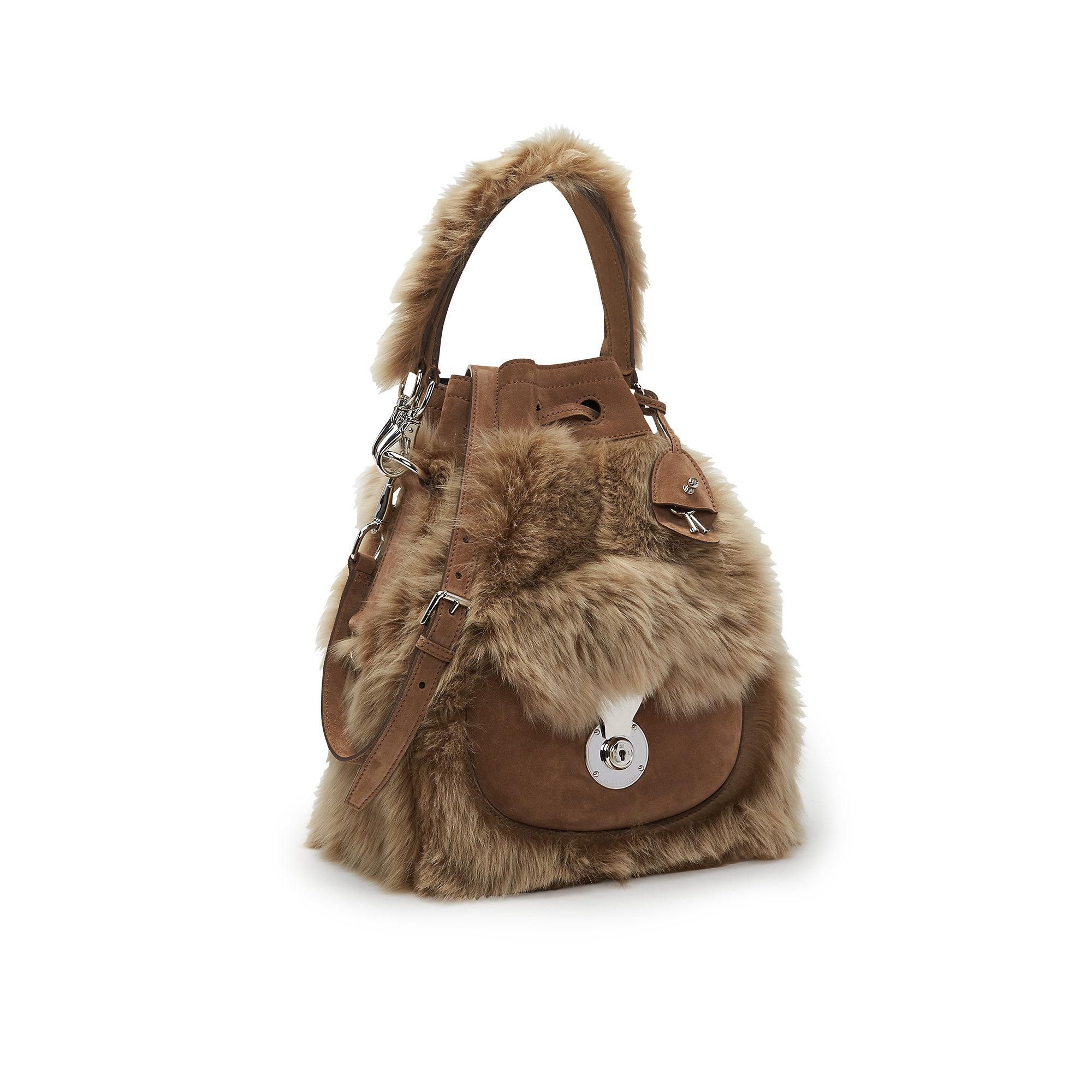 353c73ac19ba Lyst - Ralph Lauren Shearling Ricky Drawstring Bag in Natural