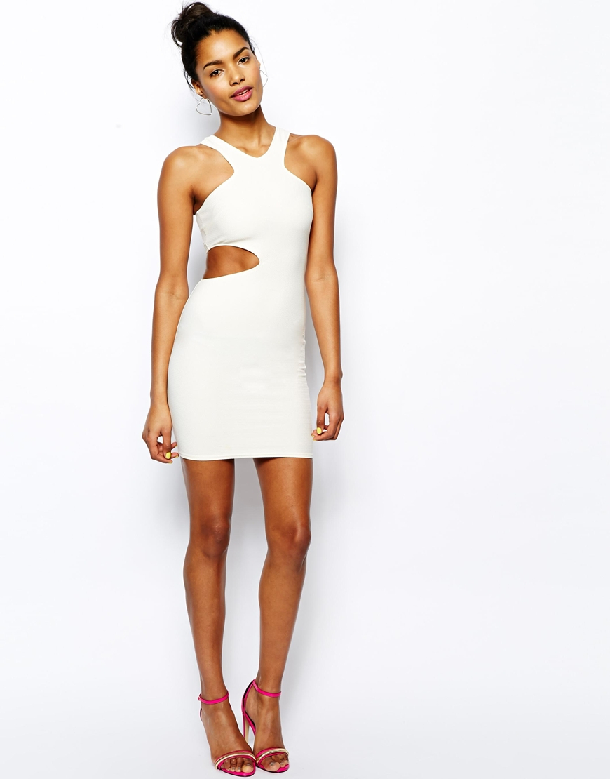 Oh my love Cut Out Bodycon Dress in White | Lyst