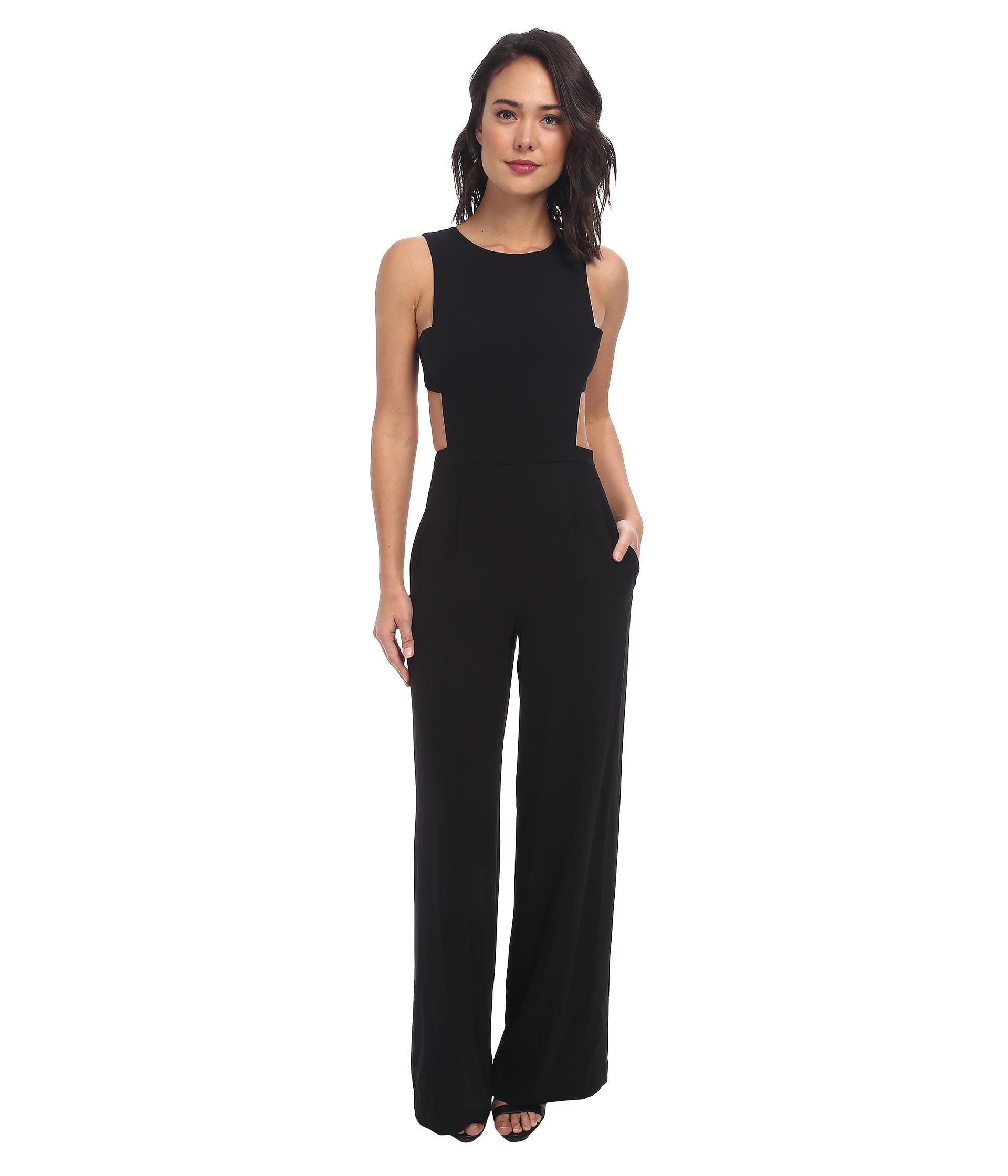 9fd9a56a19e Lyst - BCBGMAXAZRIA Rossana Cutout Back Jumpsuit in Black