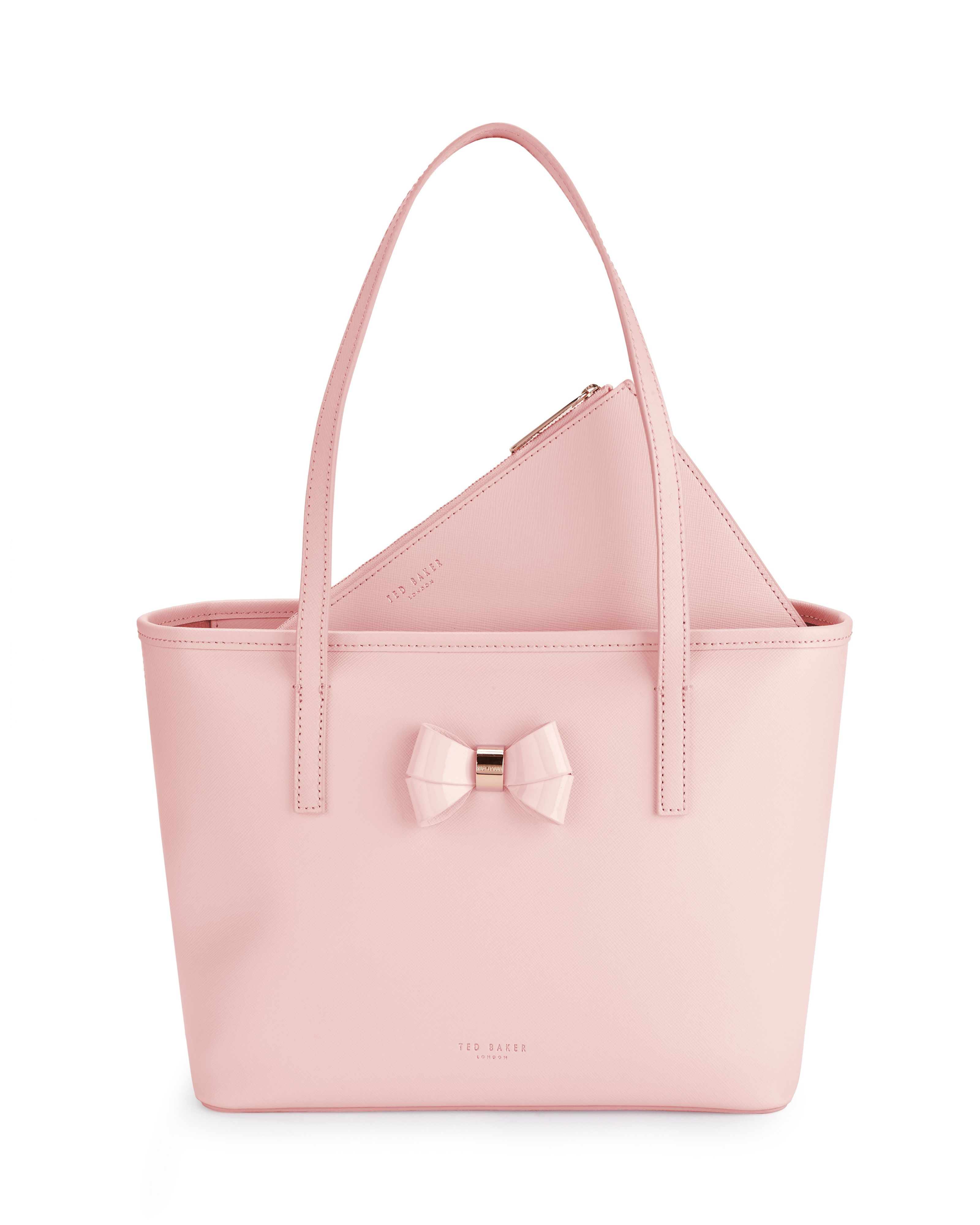 lyst ted baker ritaa bow leather small shopper bag in pink. Black Bedroom Furniture Sets. Home Design Ideas