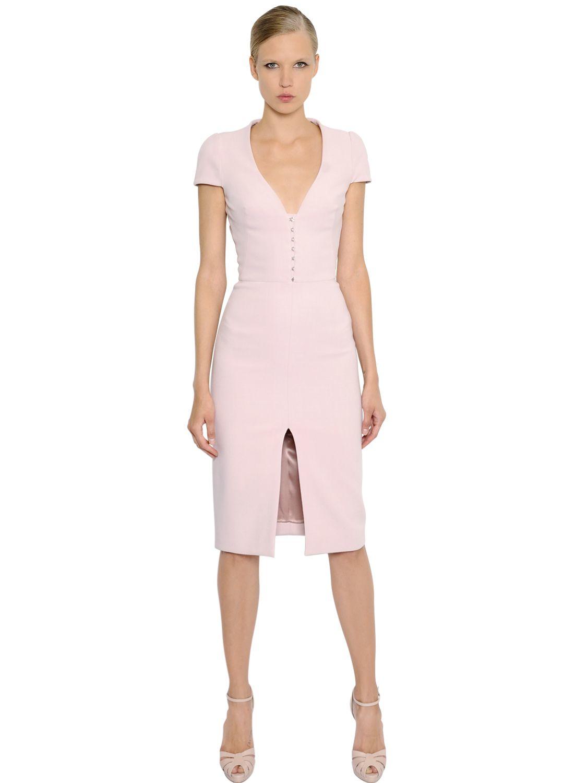 Lyst Alexander Mcqueen Viscose Amp Wool Blend Crepe Dress