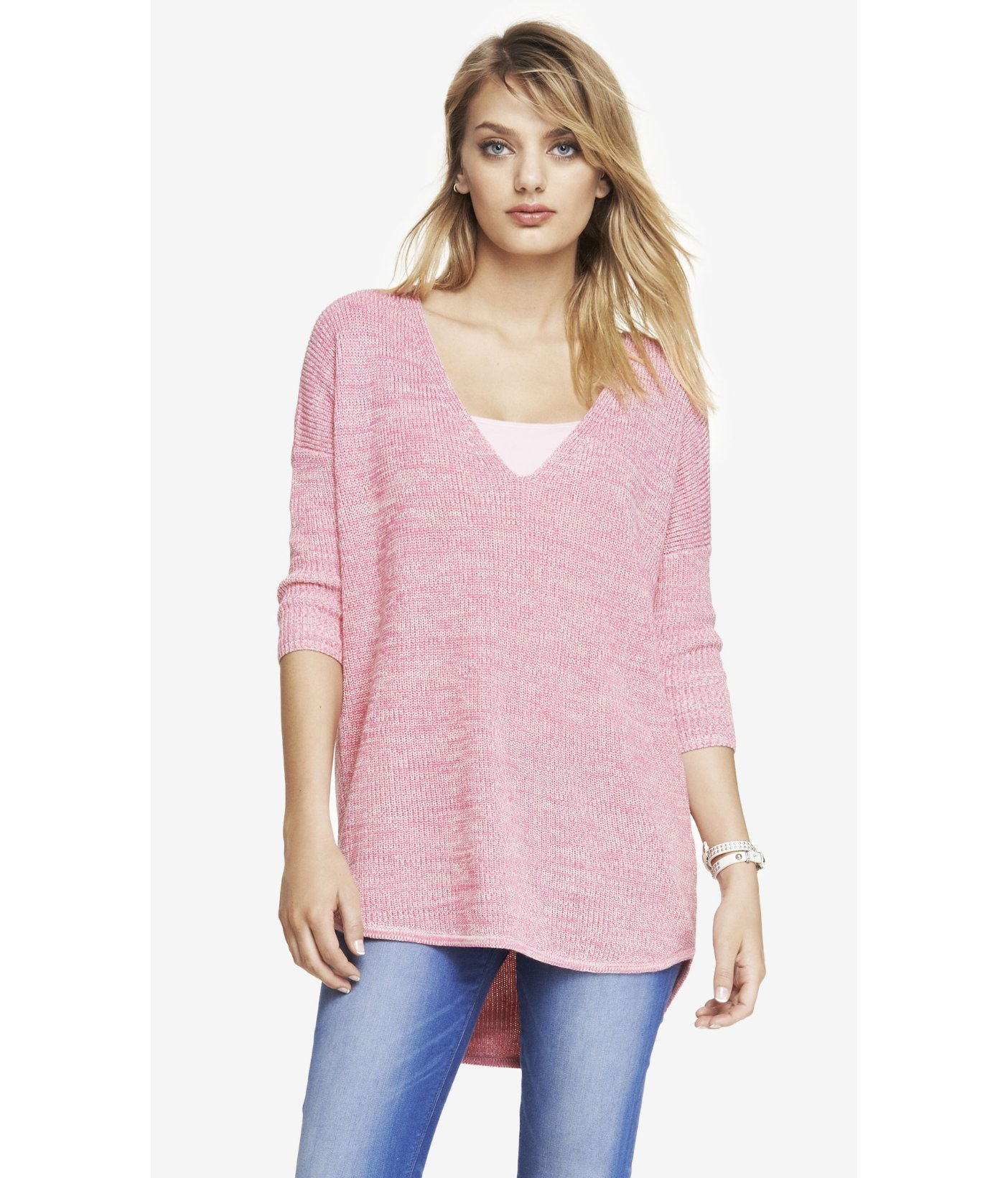 Express Marled London Sweater in Pink | Lyst
