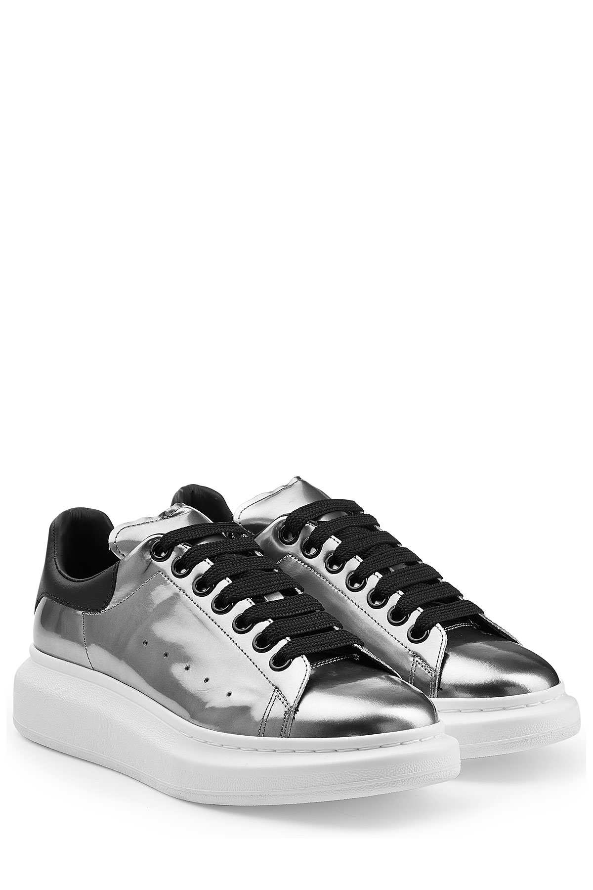 Alexander McQueen White Patent Leather & Mesh Sneakers N1cLq