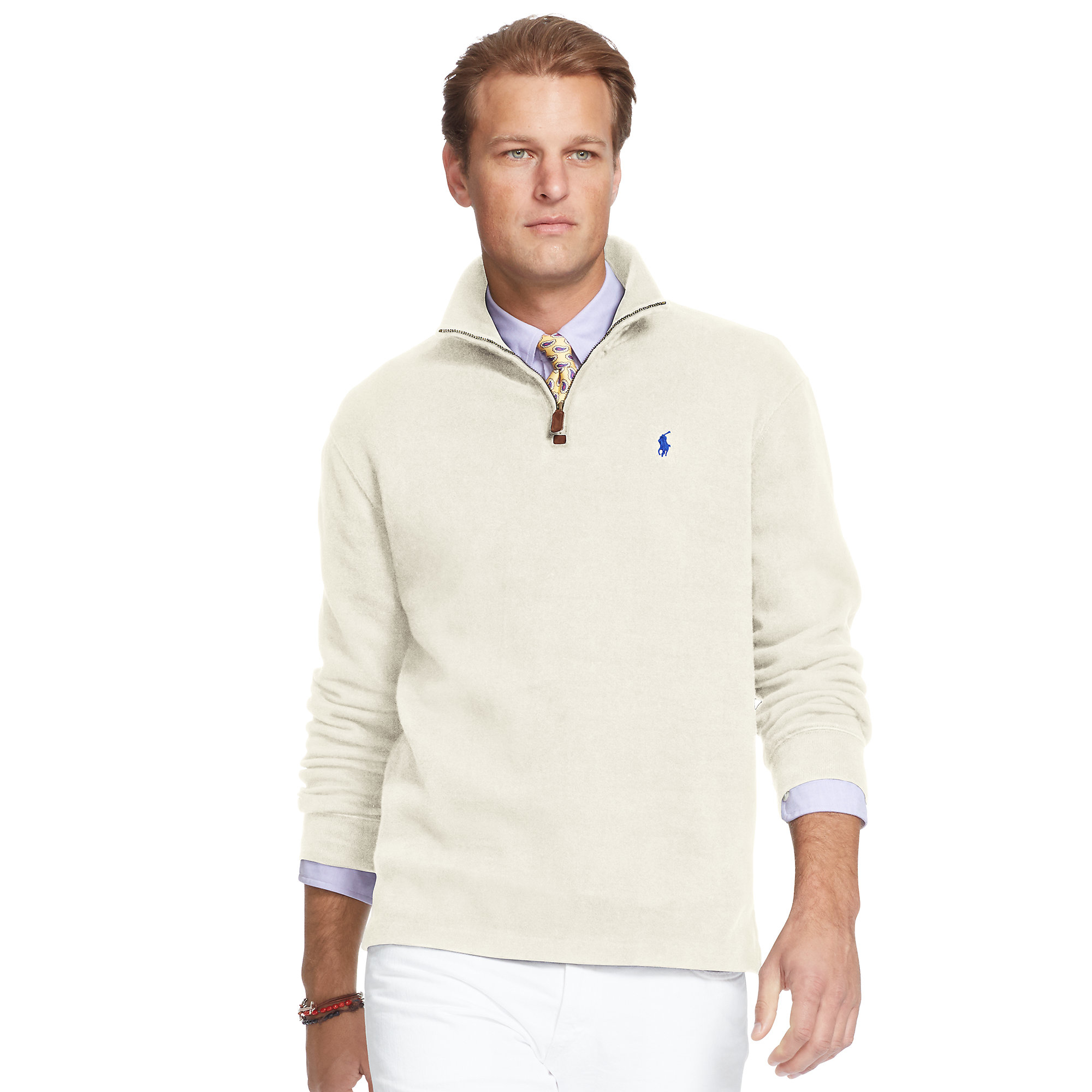 Pink pony French-rib Cotton Pullover in White for Men | Lyst