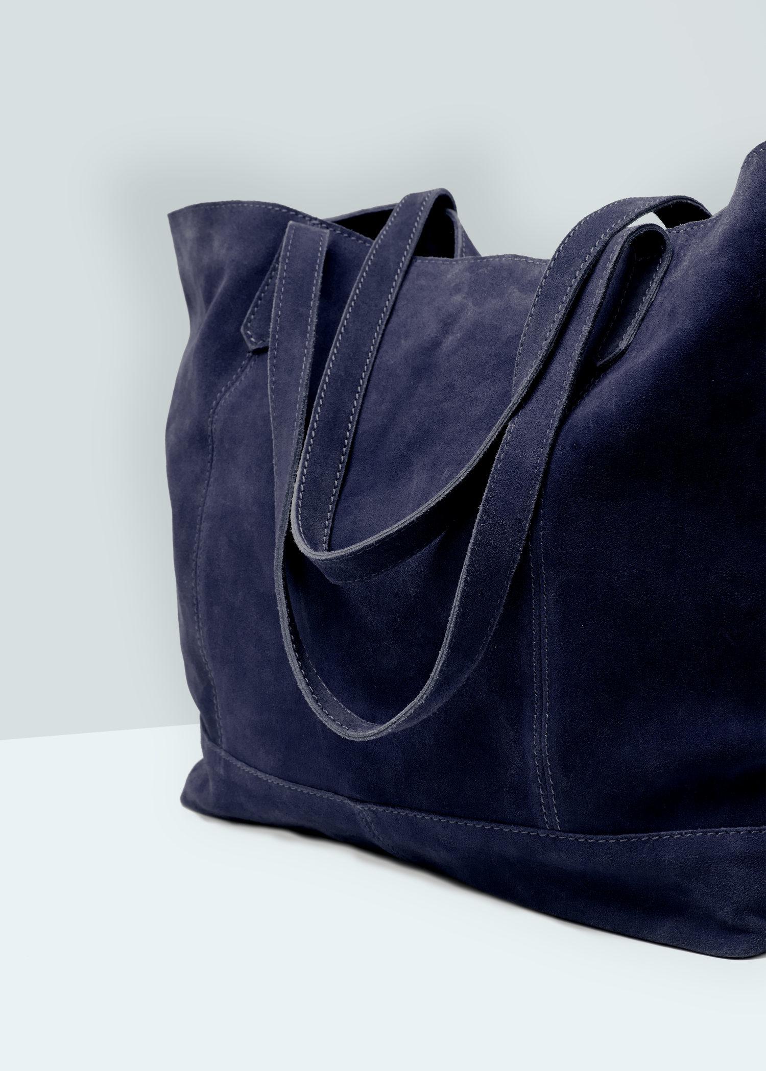 Mango Leather Shopper Bag in Blue | Lyst