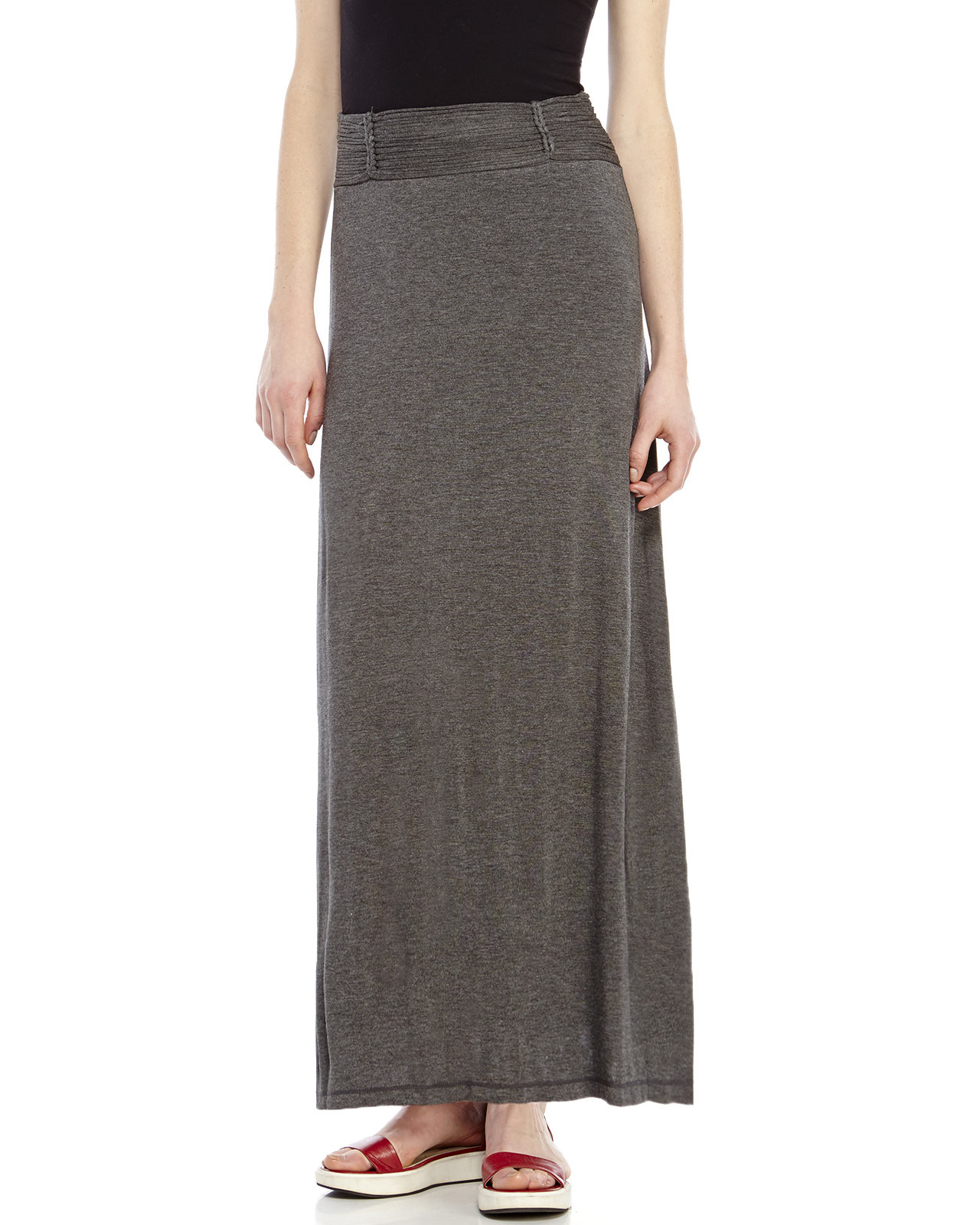 max studio gray charcoal pleated waist maxi skirt