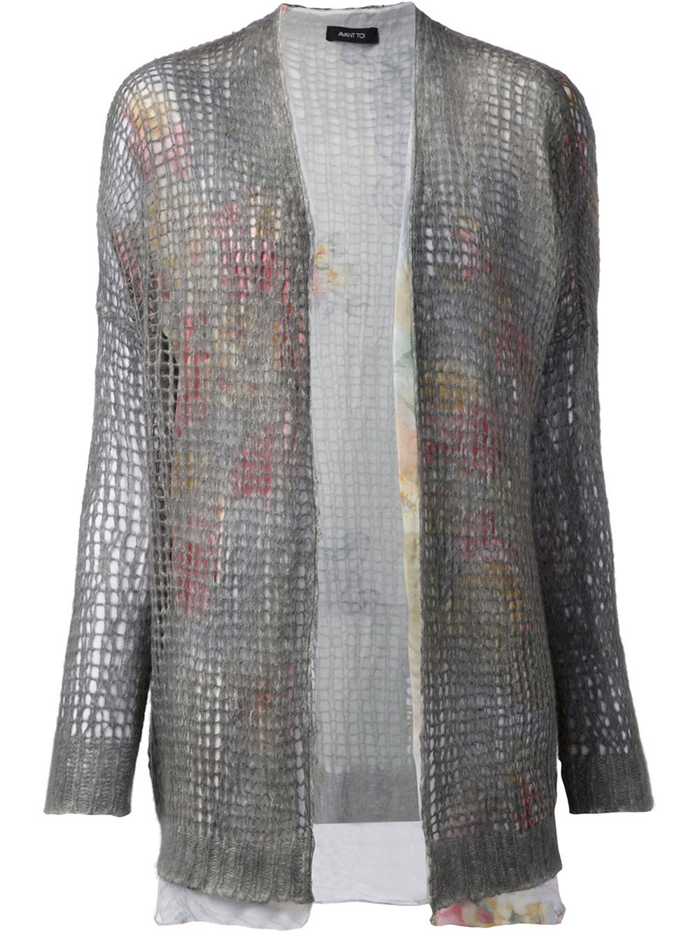 Avant toi Layered Open Knit Cardigan in Gray | Lyst