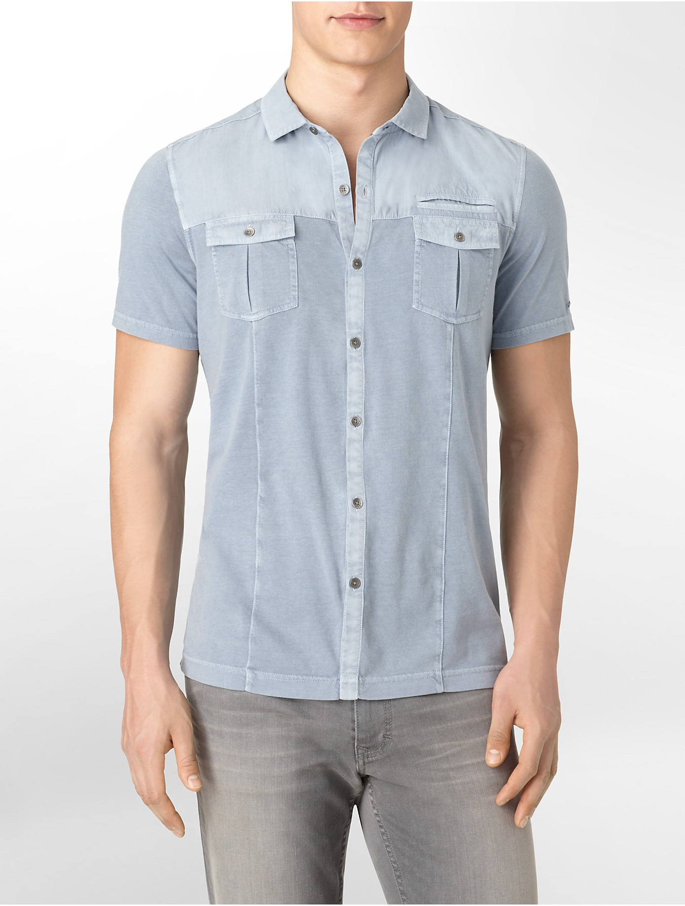Calvin klein jeans slim fit button front cotton polo shirt for Polo shirts without buttons
