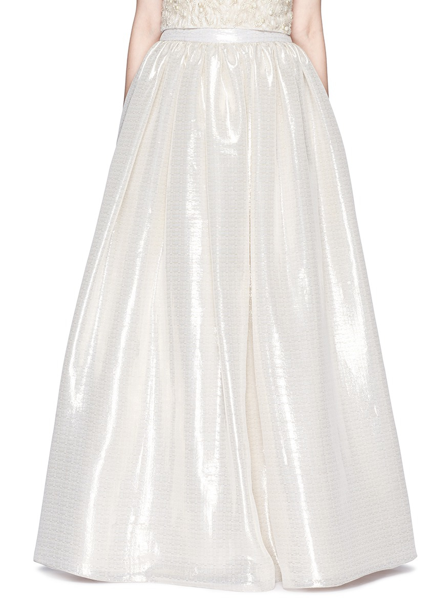 Lyst - Alice + Olivia \'abella\' Metallic Lamé Ball Gown Skirt in White