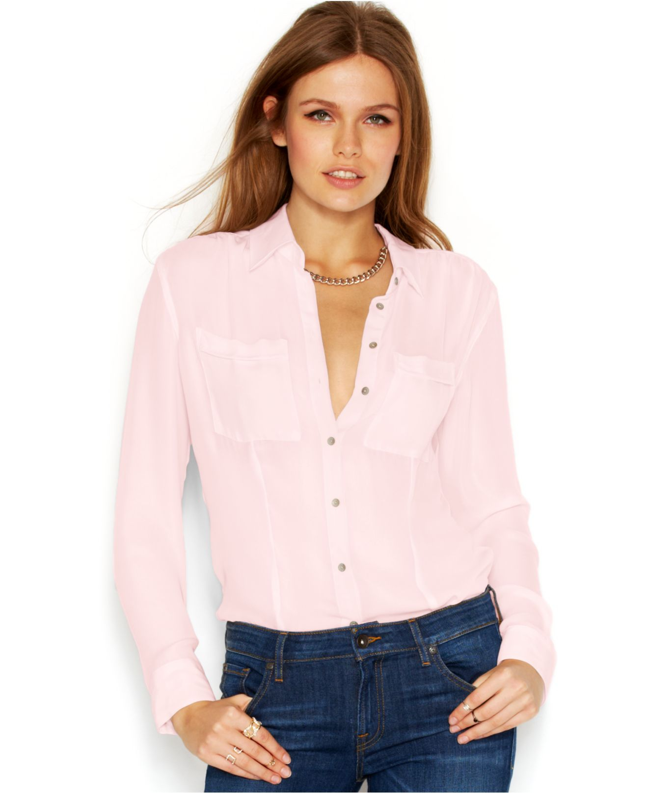 Guess Long-Sleeve Point-Collar Sheer Blouse in Pink | Lyst