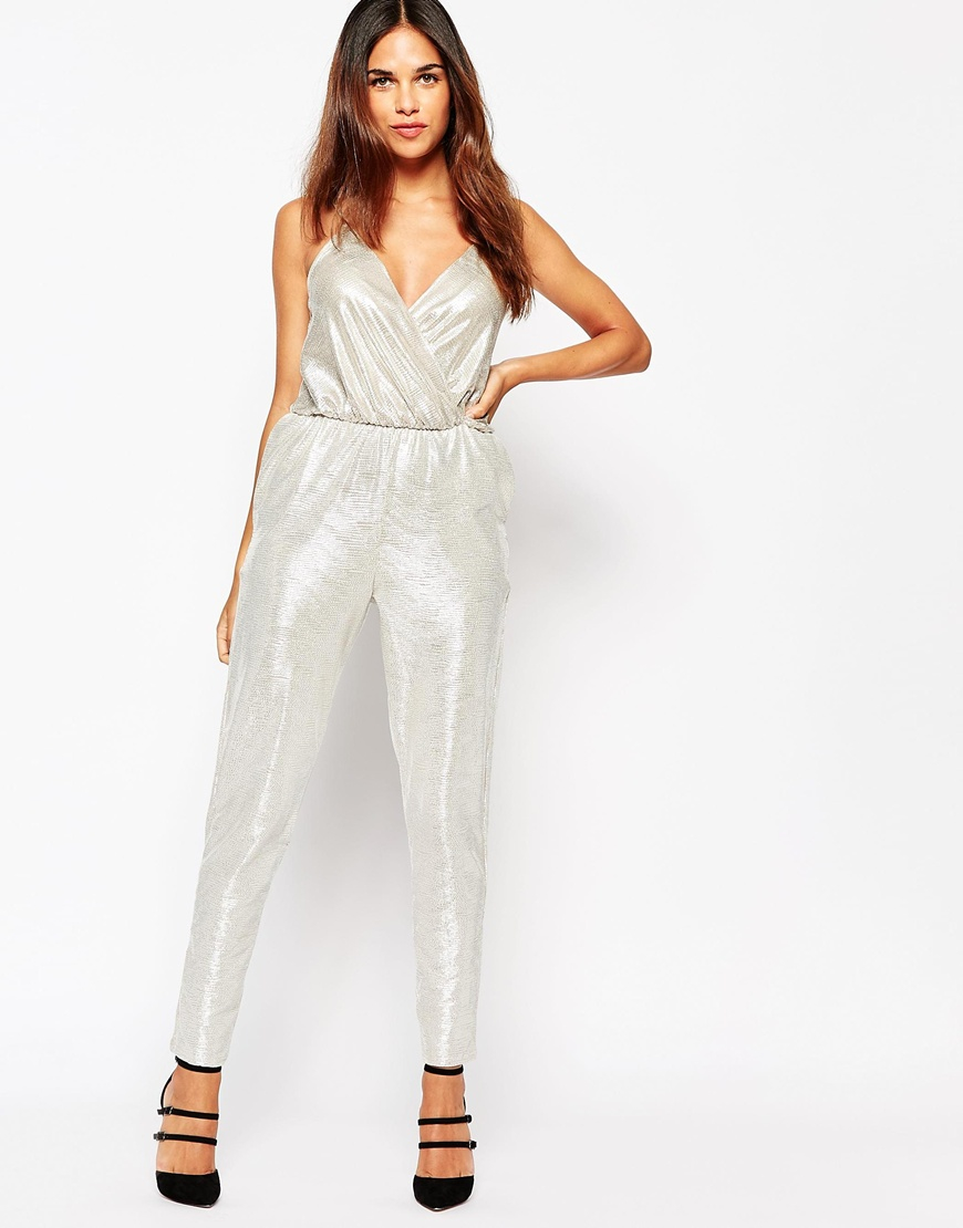 Oh my love H My Love Metallic Jumpsuit in Metallic | Lyst