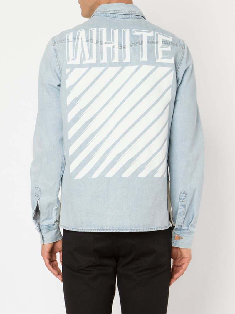 lyst off white c o virgil abloh denim shirt in blue for men. Black Bedroom Furniture Sets. Home Design Ideas