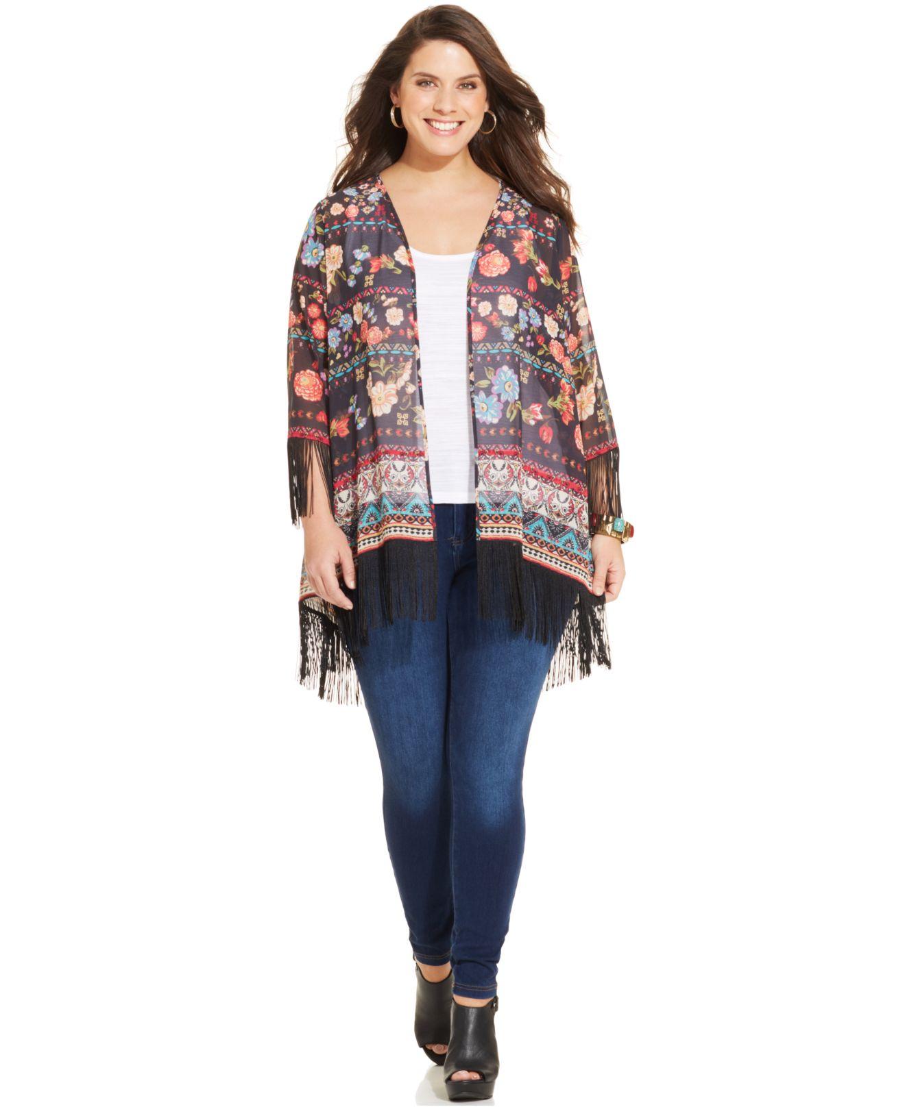 American rag Plus Size Floral-Print Kimono Cardigan in Black | Lyst