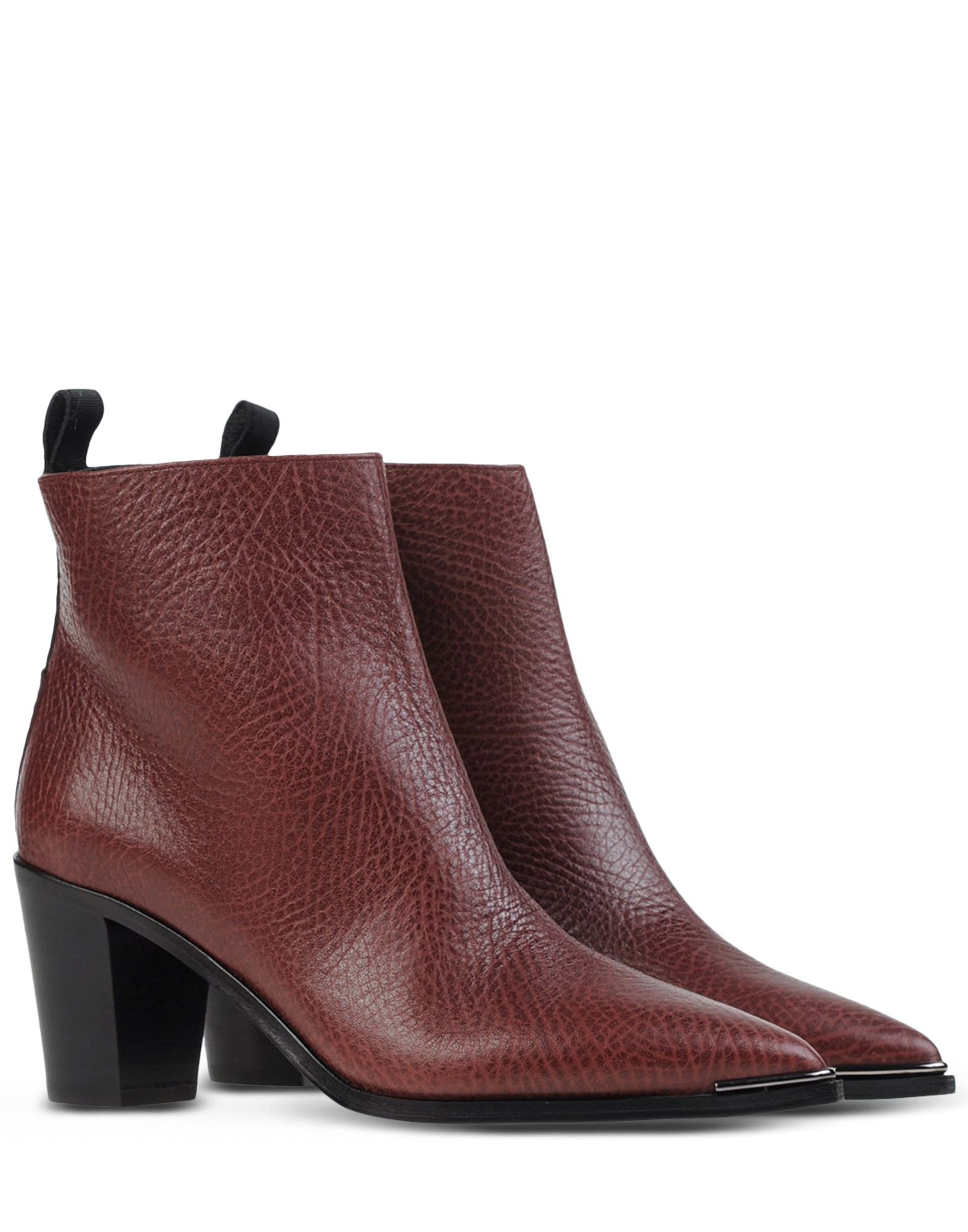Acne Textured-Leather Ankle Boots in Purple (Maroon)