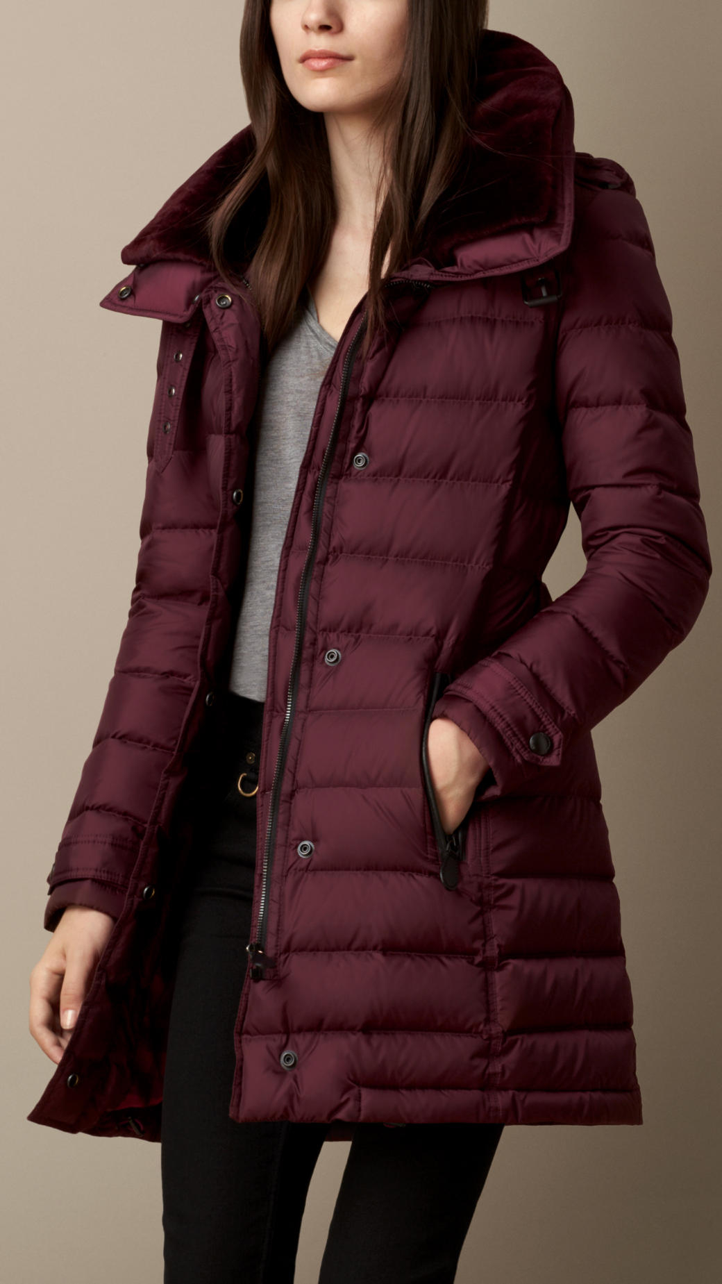 Burberry Down-Filled Coat With Shearling Collar in Purple | Lyst