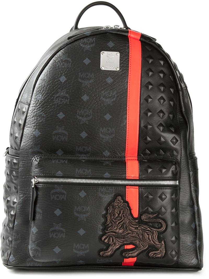 Mcm 'Munich Lion' Backpack In Black For Men